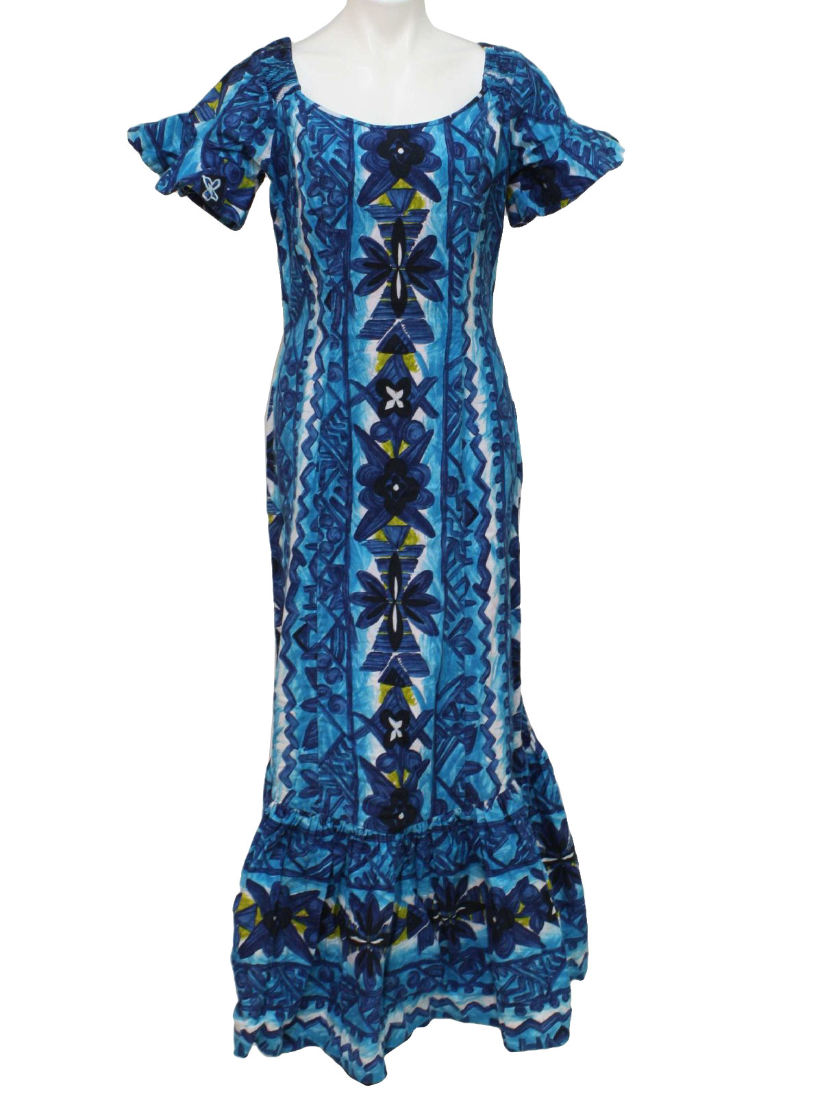e1d597d54b16 Vintage 70s Hawaiian Dress: 70s -Reef- Womens navy blue, white ...