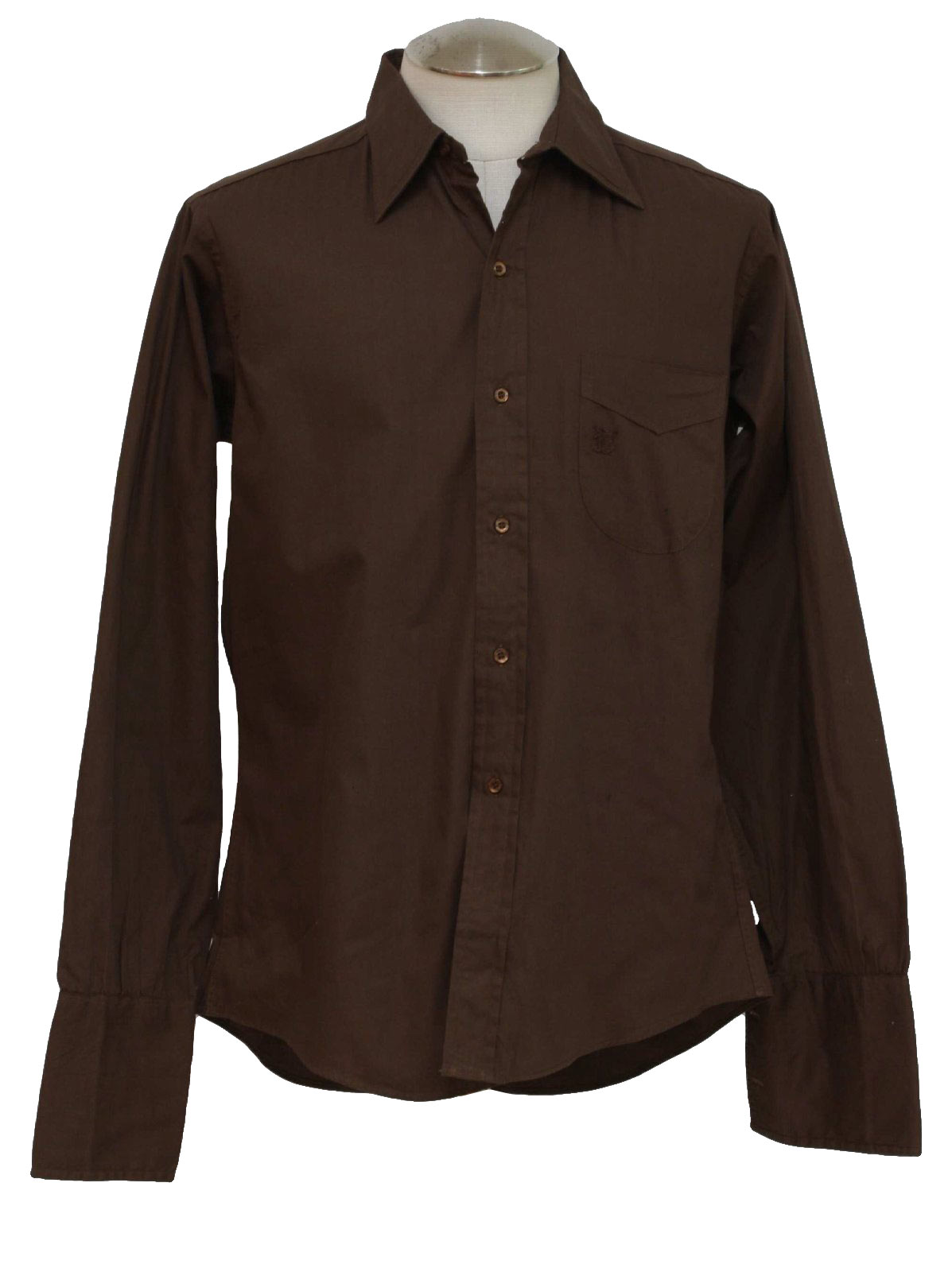 Vintage 1960 39 s shirt 60s le chevron mens dark chocolate for Mens chocolate brown shirt