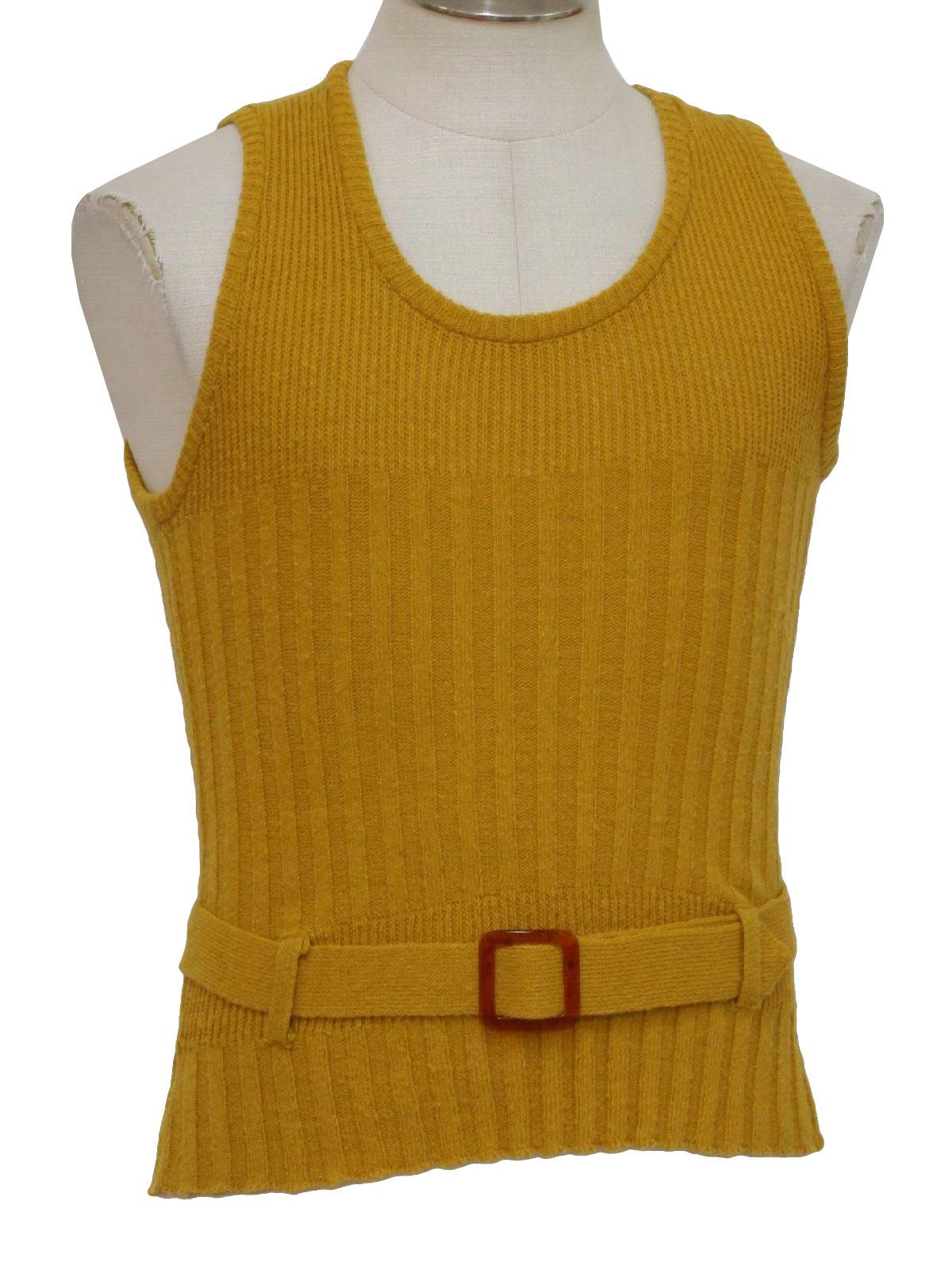 Vintage 60s Sweater: 60s -Brent Orlon Acrylic- Mens gold acrylic ...
