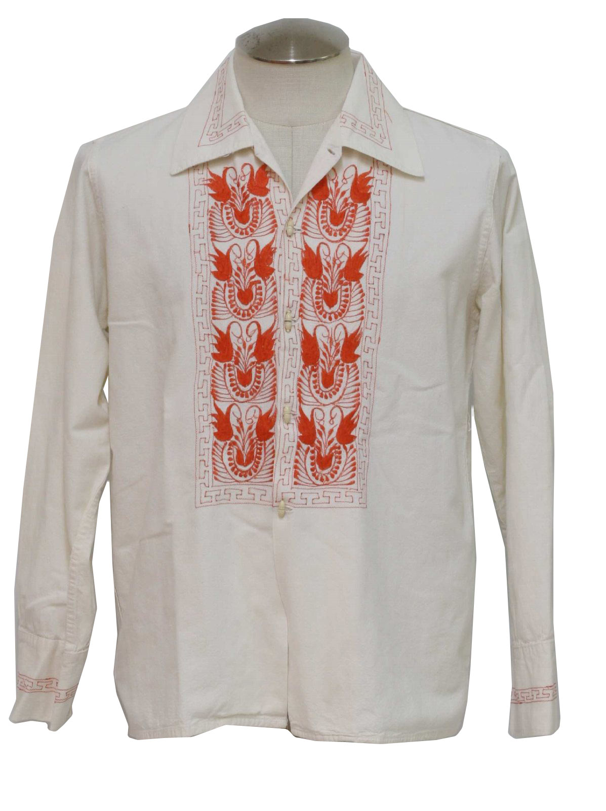 60s Vintage Hippie Shirt No Label Mens White Coral Cotton Muslin Mexican Wedding Style With Longsleeves Slightly Fitted Sides