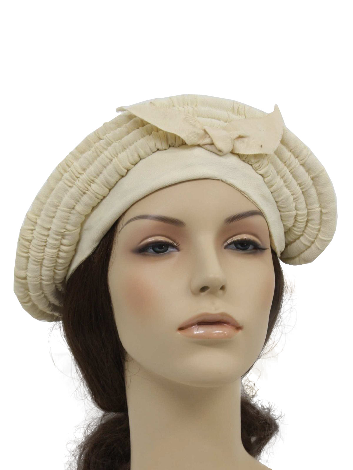 1940 s hat 40s no label womens ivory crepe fabric