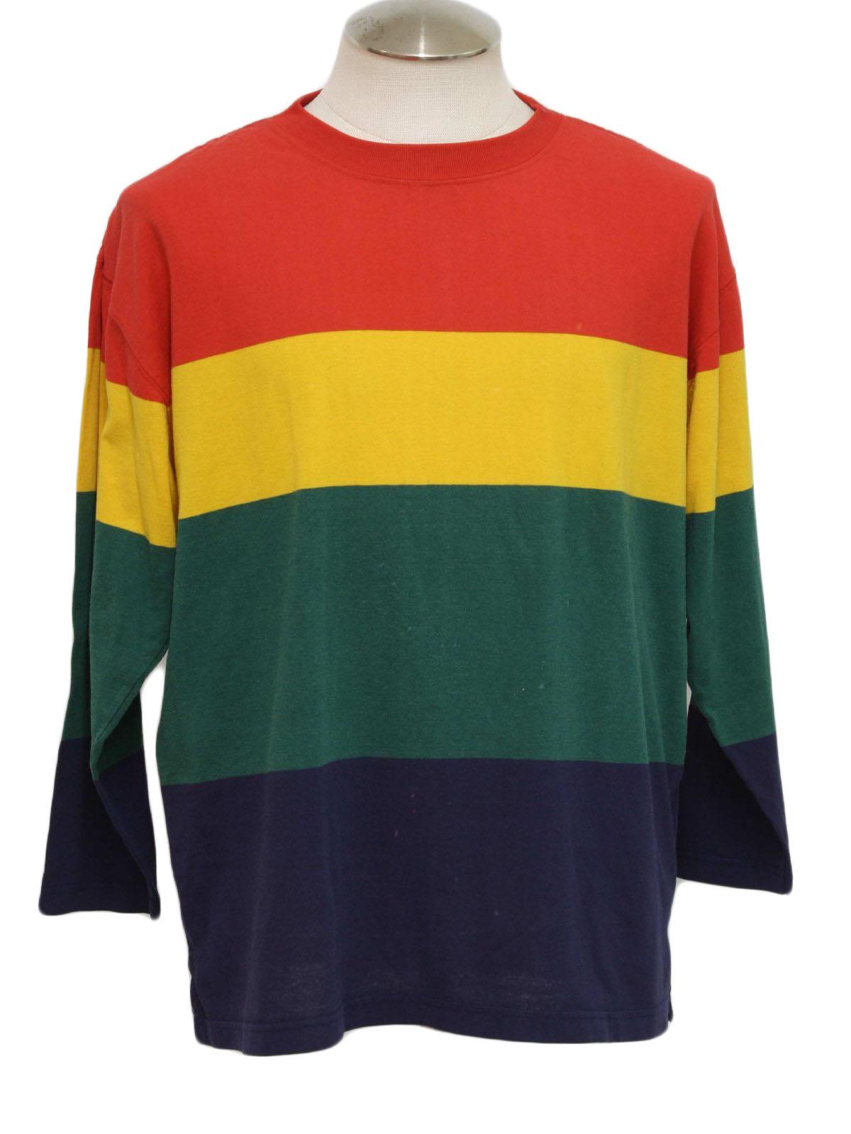 Retro Nineties T Shirt 90s Huntington Mens Red Yellow