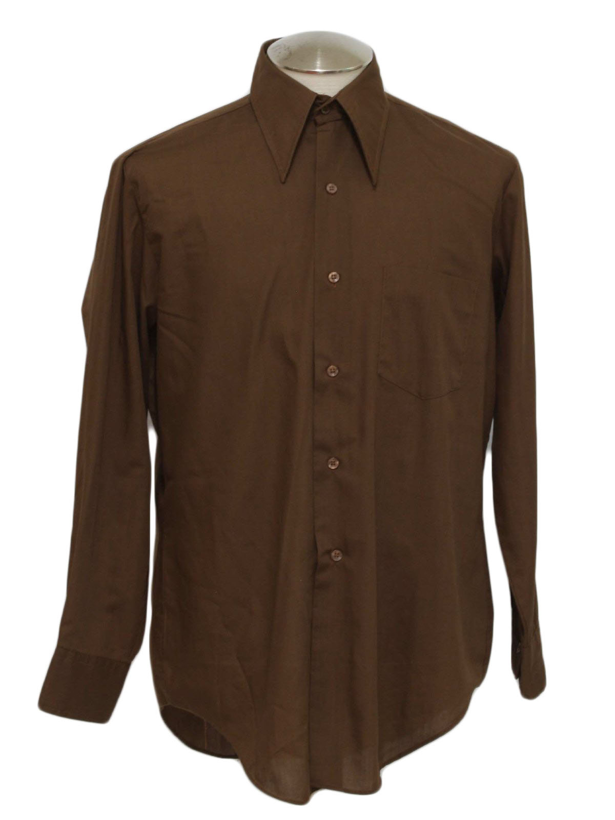 1970 39 s retro shirt 70s jayshire mens chocolate brown for Mens chocolate brown shirt