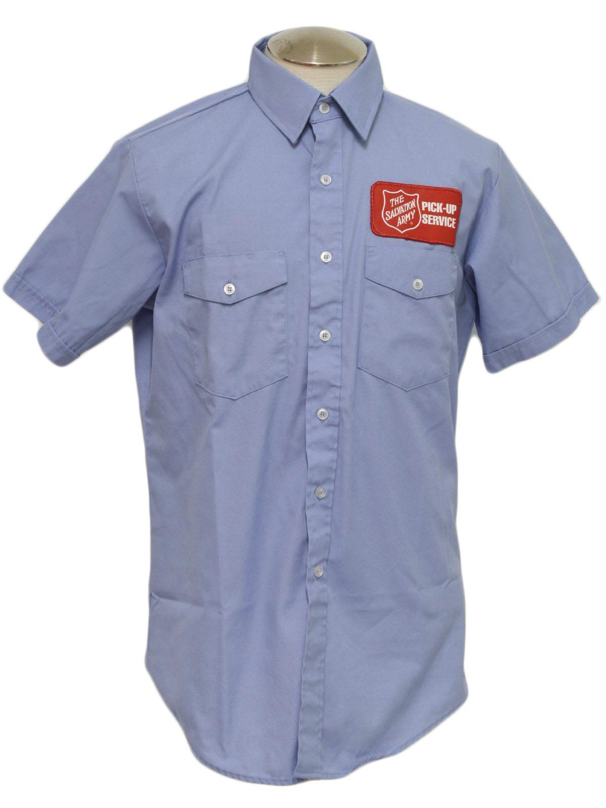 80s Retro Shirt 80s Unitog Mens Light Blue Short Sleeve