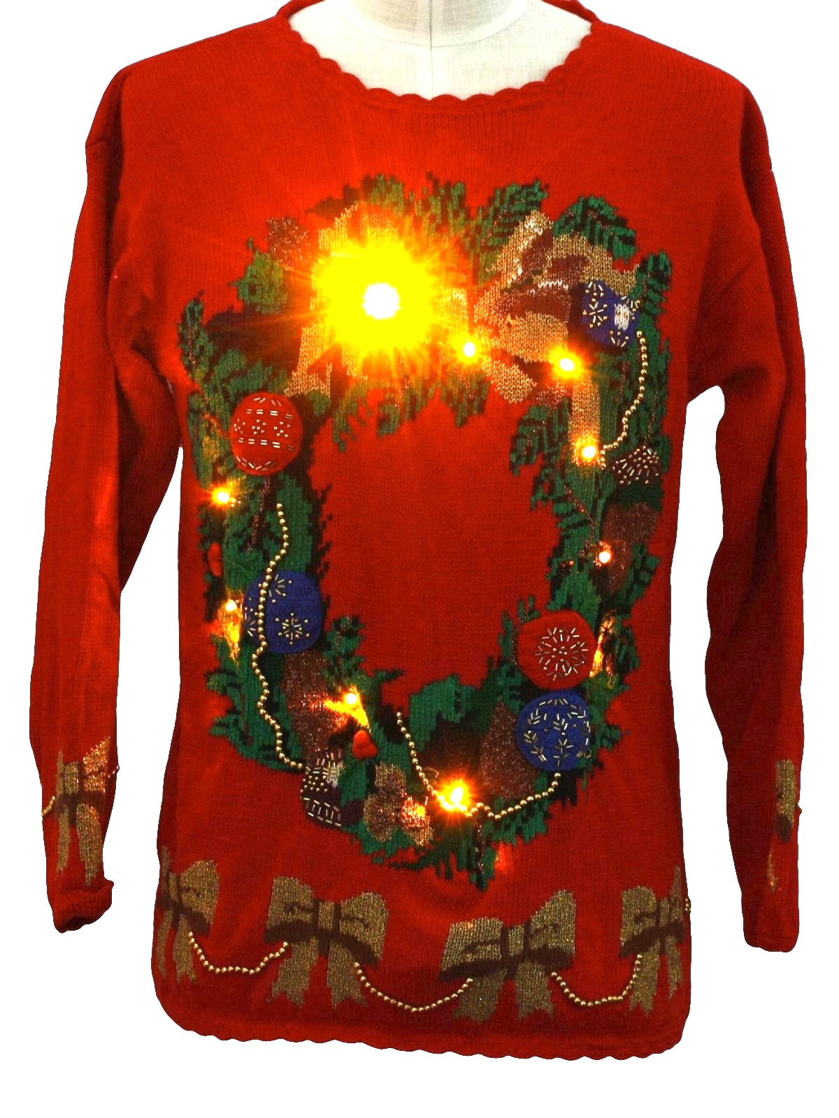 Lightup Ugly Christmas Sweater Retro Look Eagles Eye Unisex Red