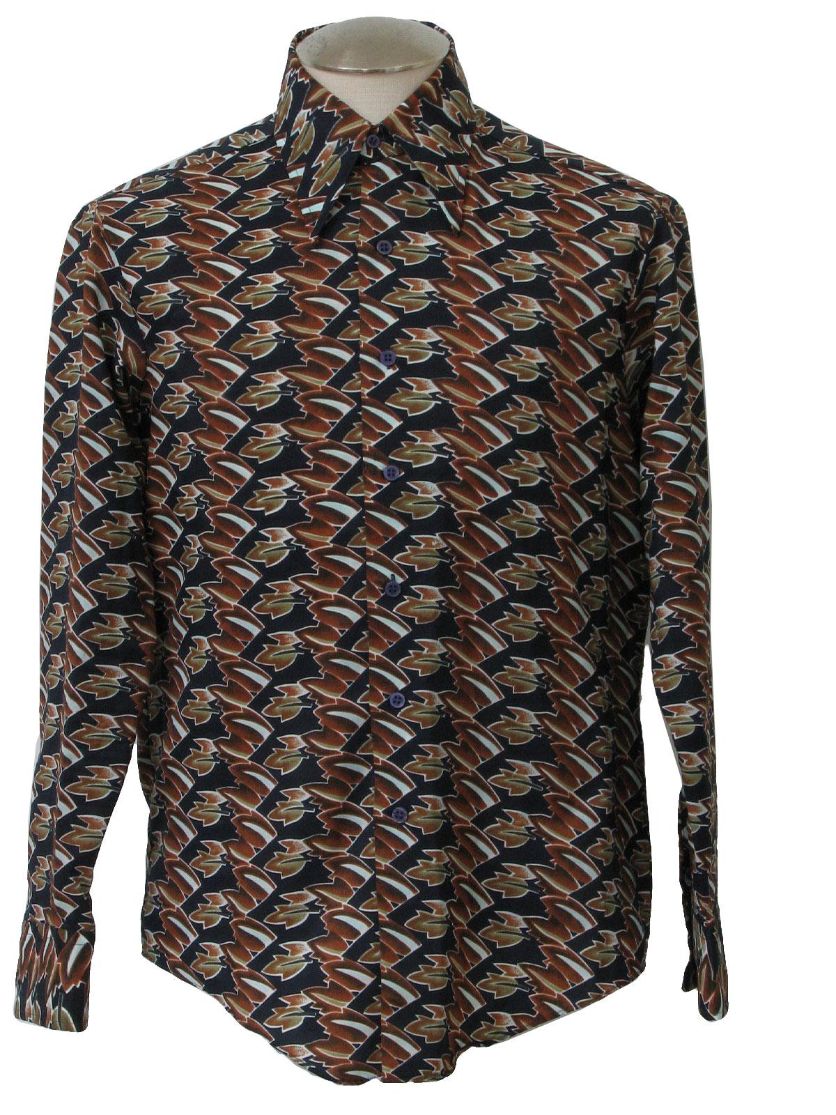 Seventies kmart print disco shirt 70s kmart mens navy for Kmart button up shirts