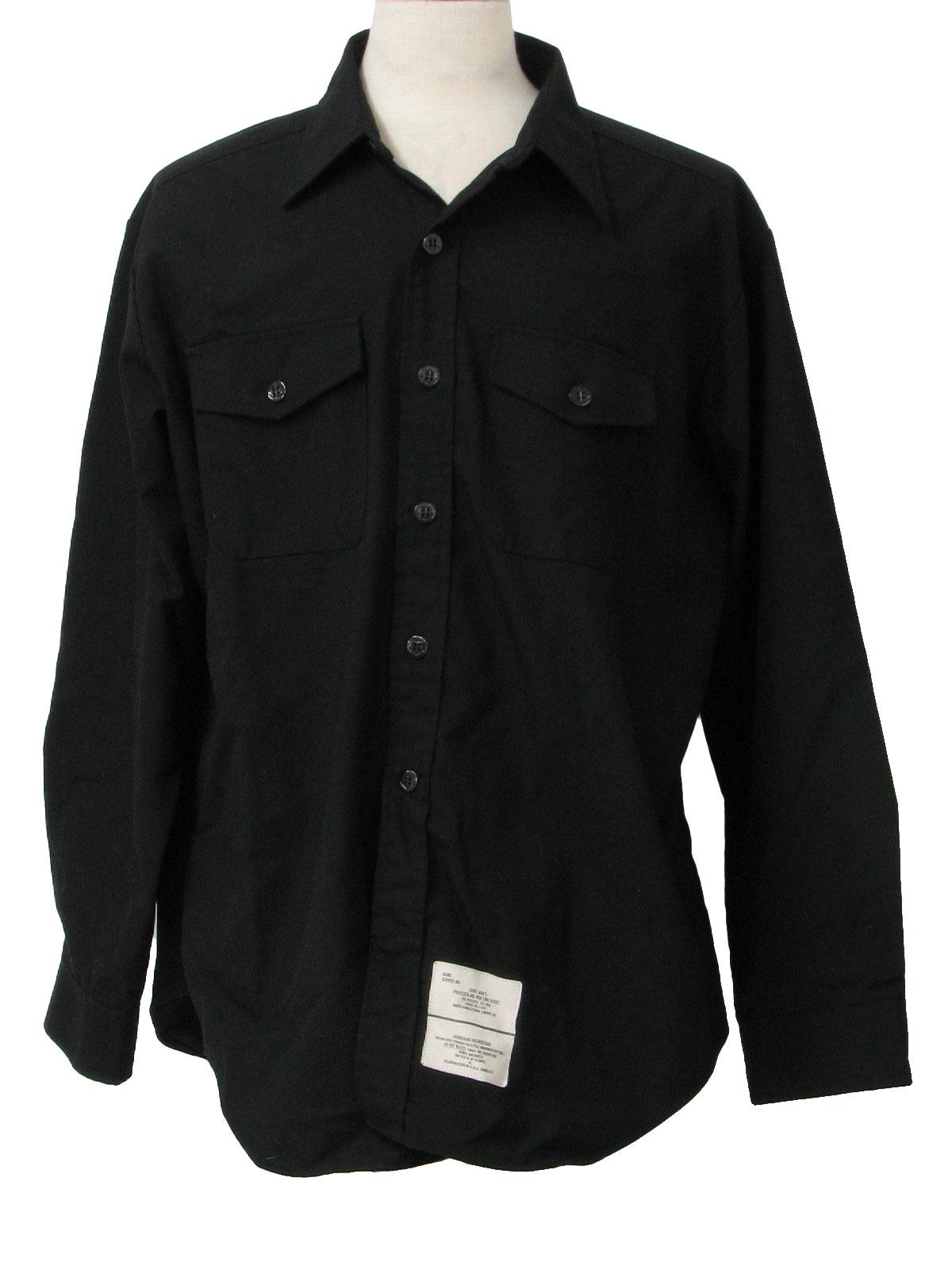 Seventies Gabardine Shirt 70s Martin Manufacturing Co Mens Black