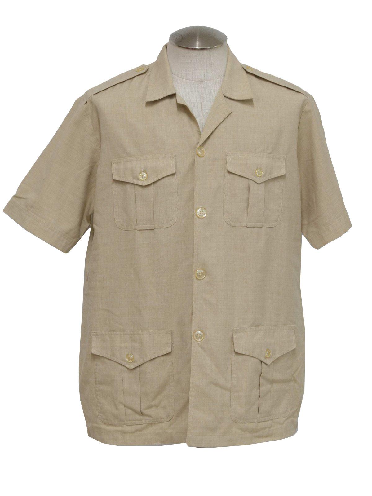 Safari Shirt Cognac Heels: Art Boutique 80's Vintage Shirt: 80s -Art Boutique- Mens
