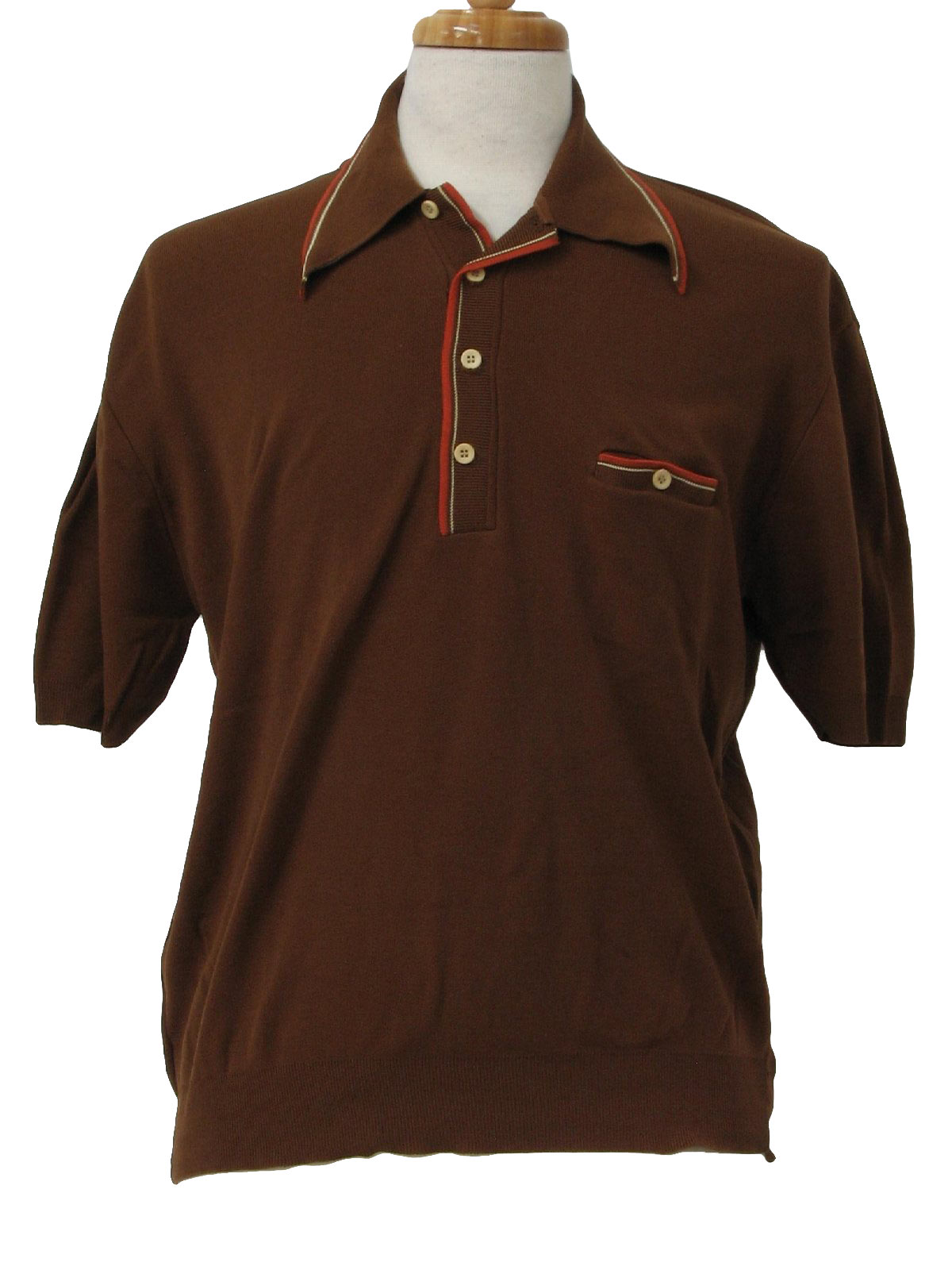 1970 39 s vintage mohawk knit shirt 70s mohawk mens for Mens chocolate brown shirt