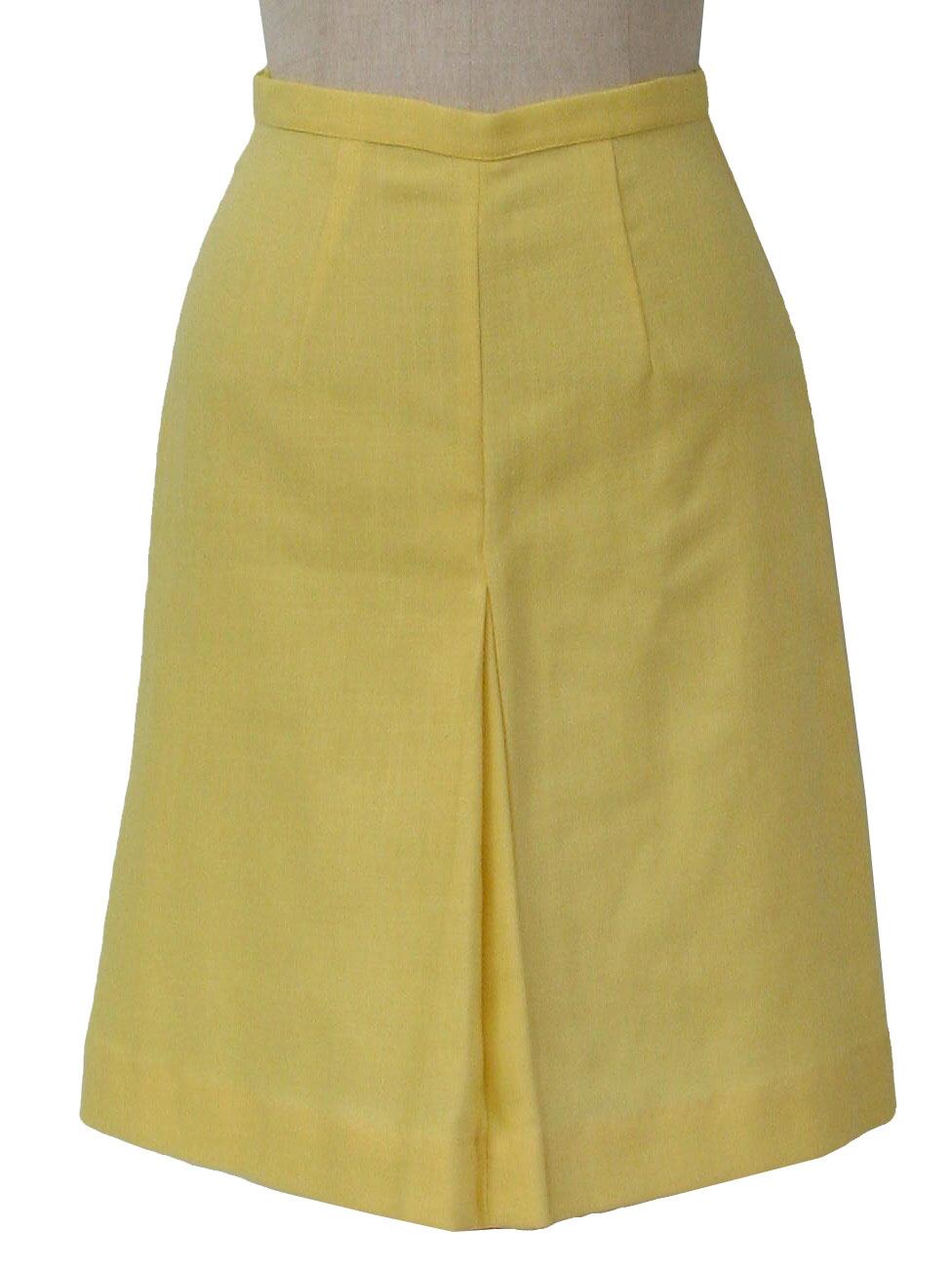 Vintage 1960's Skirt: Early 60s -Cut Label- Womens lemon yellow ...