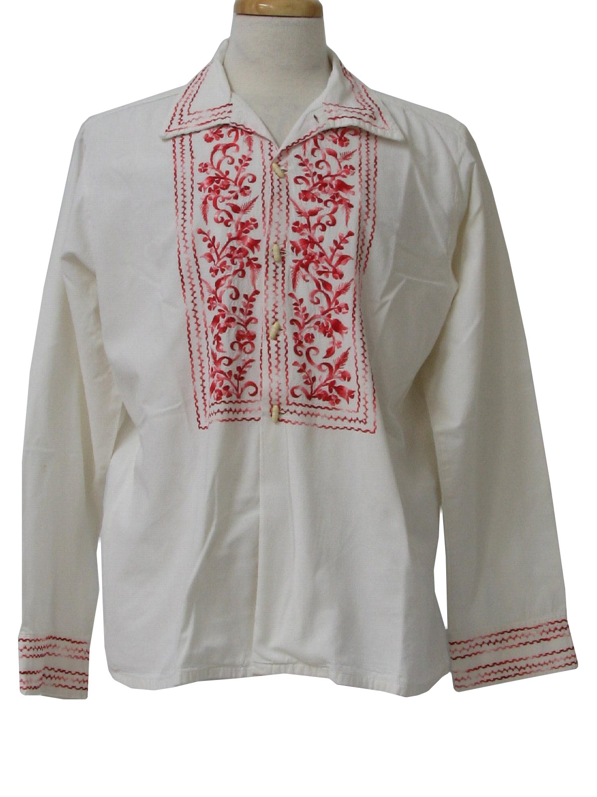 1960's Probably Made in Mexico Mens Embroidered Hippie Shirt