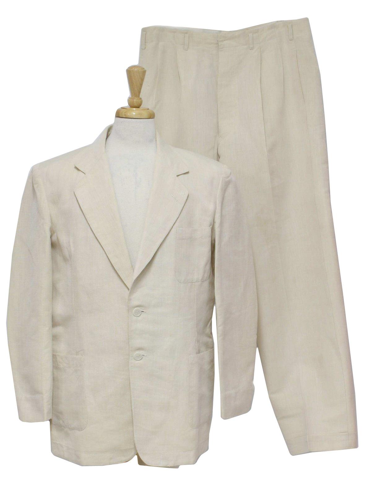 1930s Vintage Suit Late 30s No Label Mens Two Piece Tropical With Cream Linen Weave Palm Beach Cloth Jacket Wide Notched Lapels