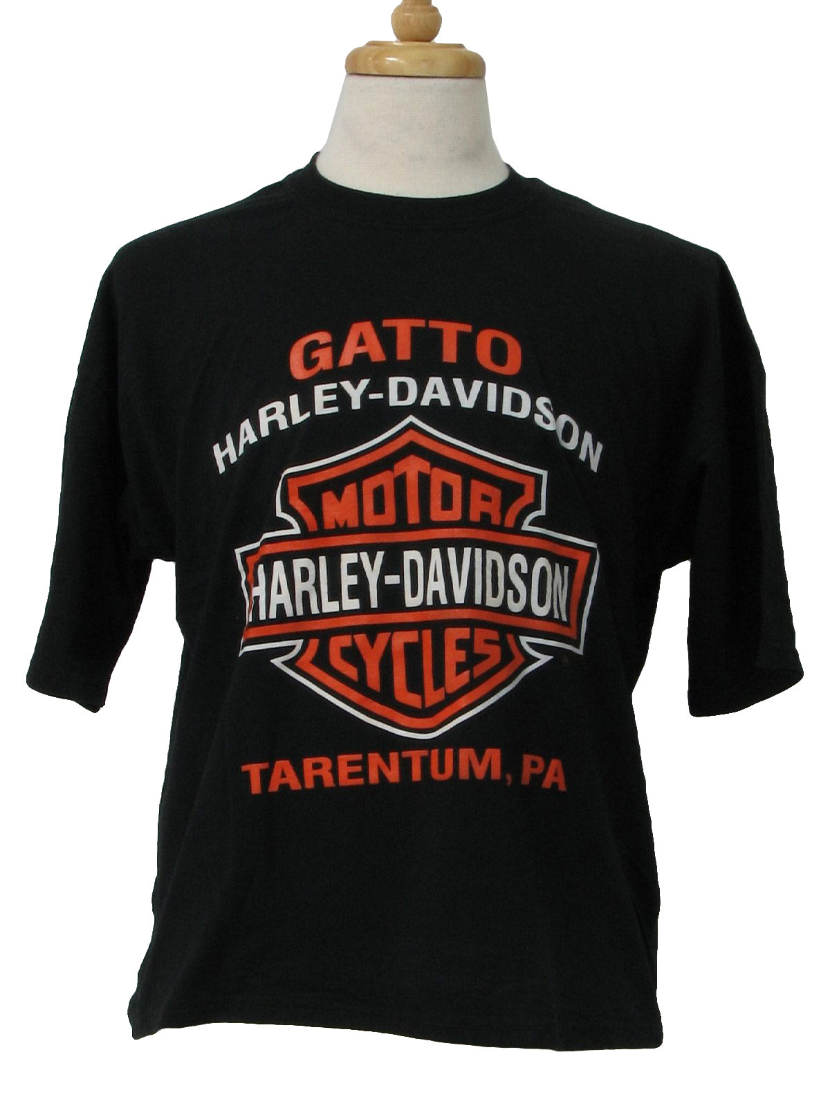 T Shirt: 90s -jerzees- black, white and orange -Gatto Harley ...