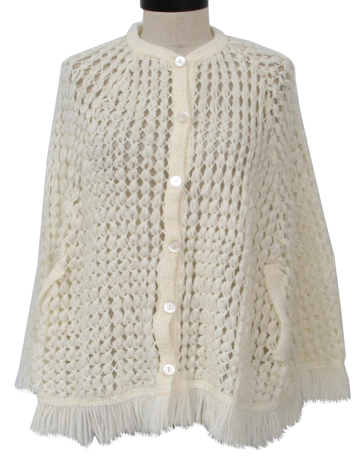 Arm Knitting Pullover : Vintage s sweater hand knit womens white