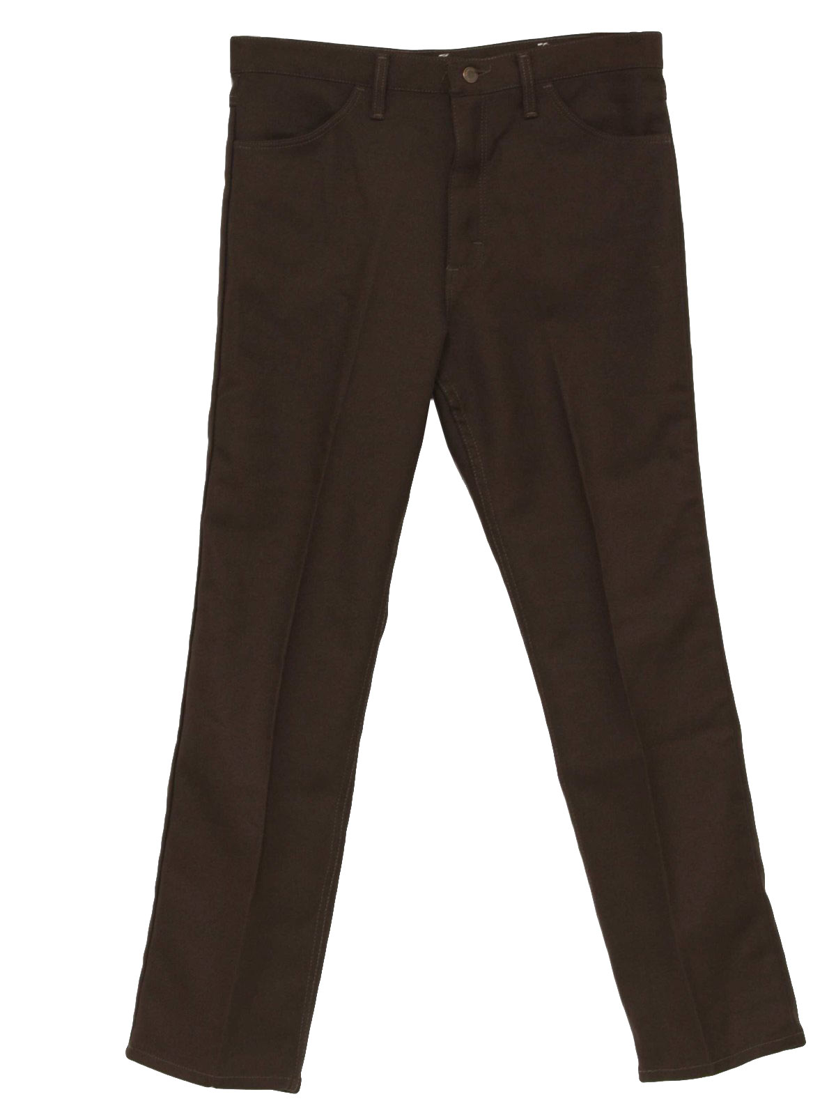 70's Wrangler Pants: 70s -Wrangler- Mens dark brown straight leg ...