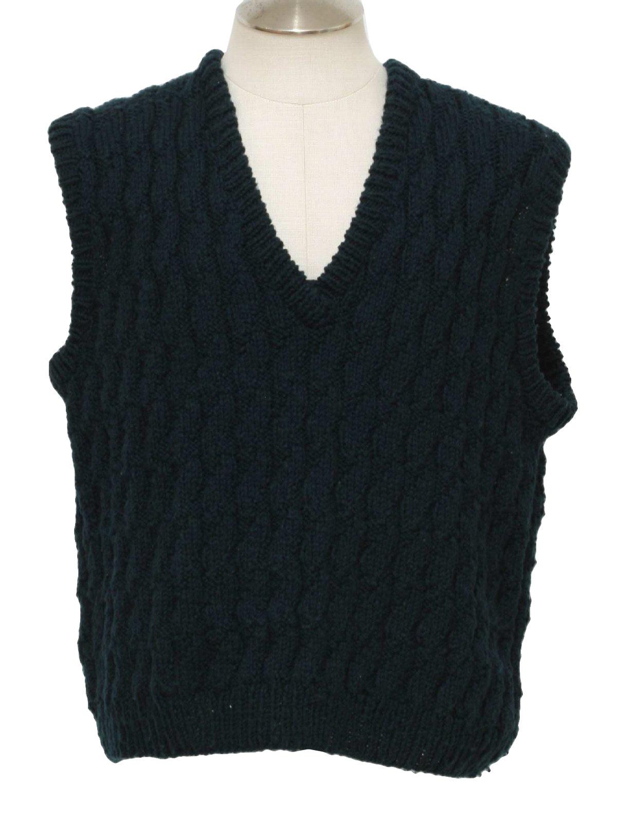 Knitting Pattern Men s Sweater Vest : Vintage 1990s Sweater: 90s -No Label- Mens deep emerald ...