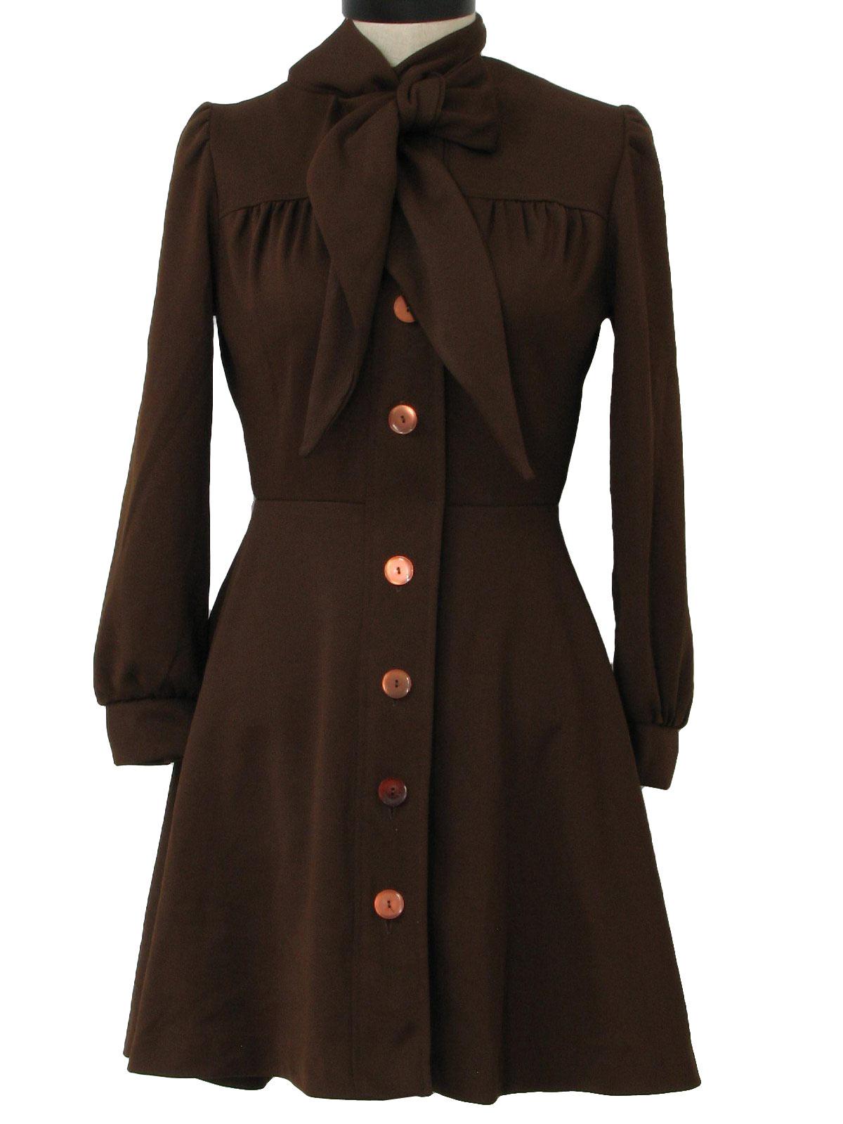 Brown Long Sleeve Dress