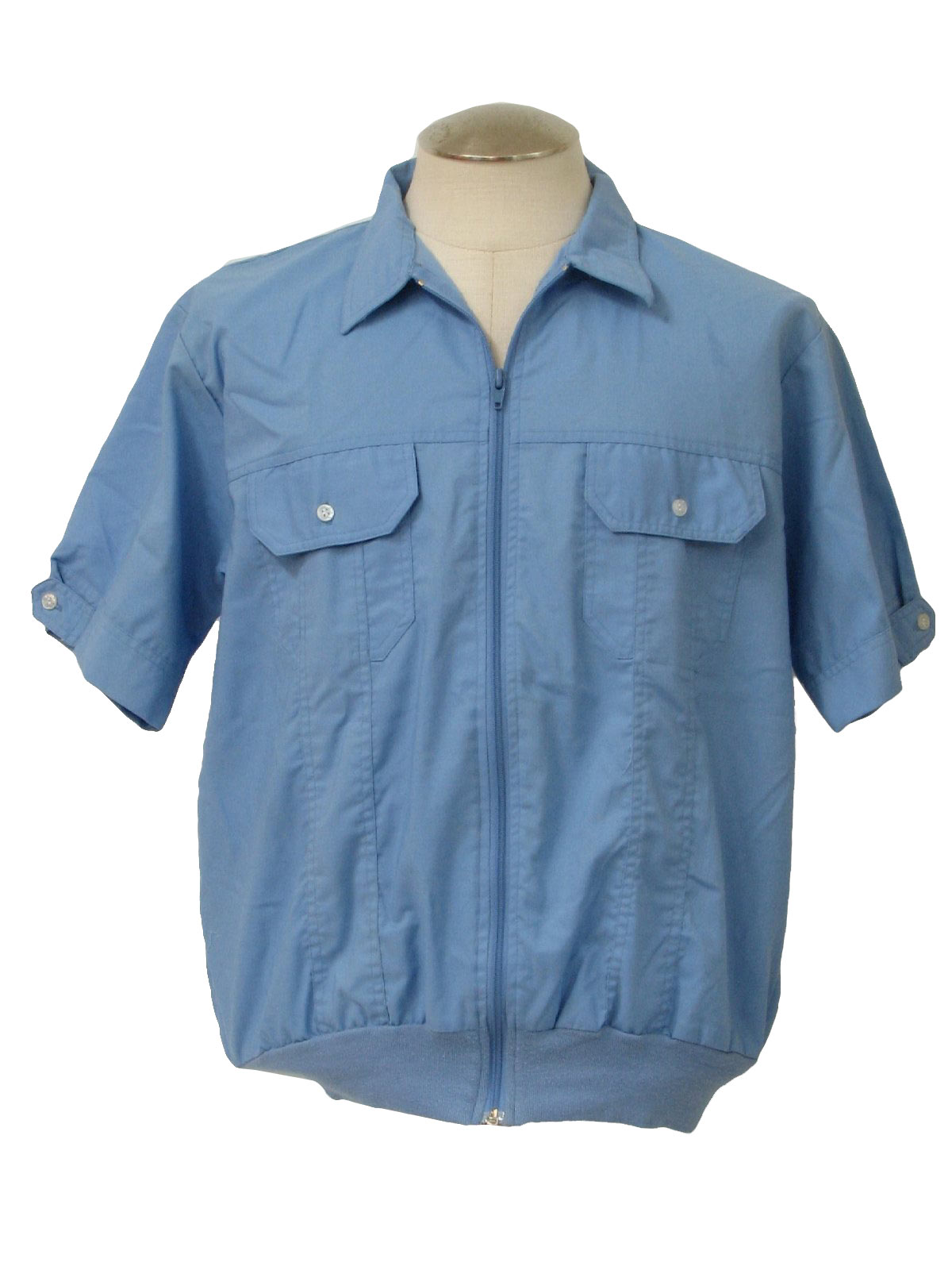 1980 S Retro Shirt 80s Blair Mens Light Blue Polyester