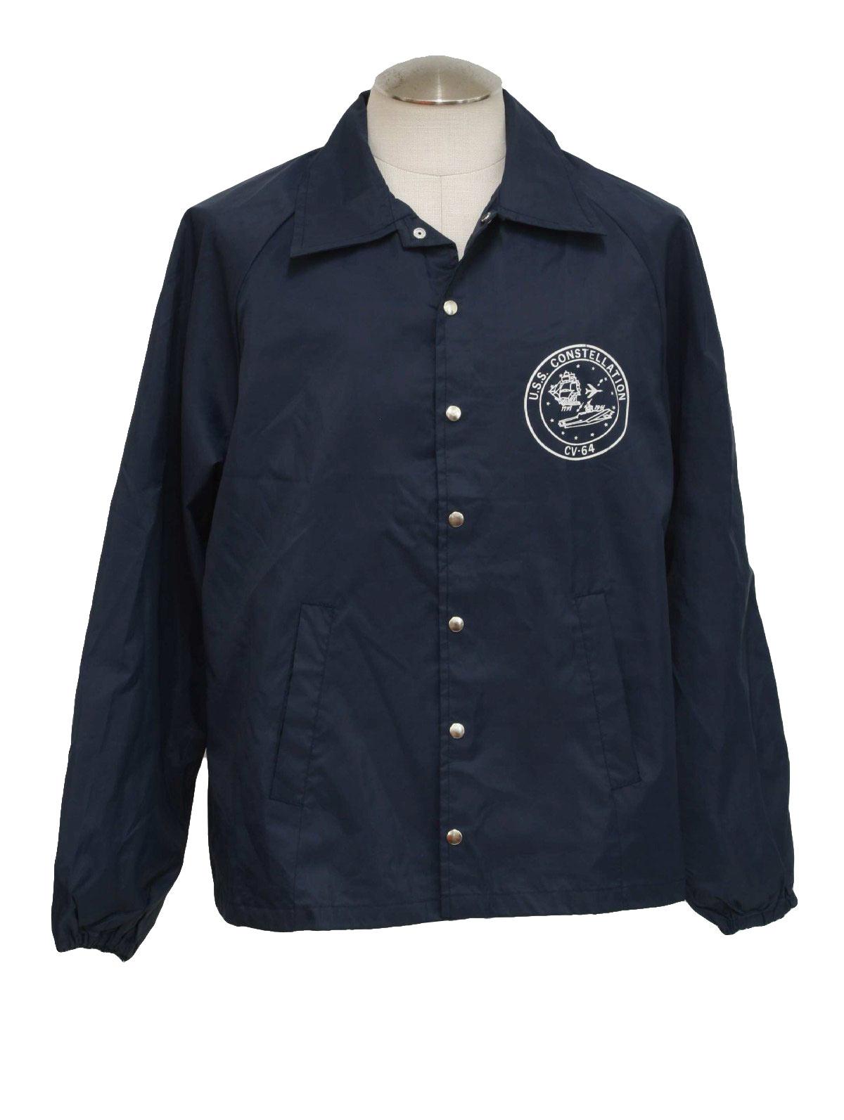 Seventies Care Label Jacket: 70s -Care Label- Mens dark blue nylon