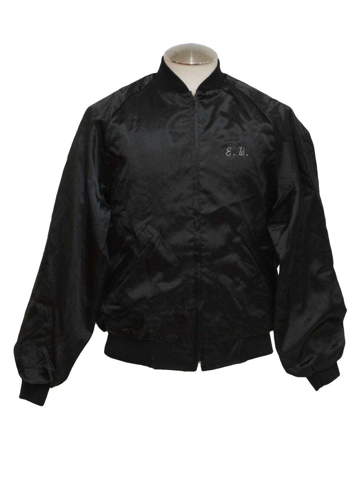 Retro 70&39s Jacket: 70s -Pla Jac- Mens black cotton lined shiny
