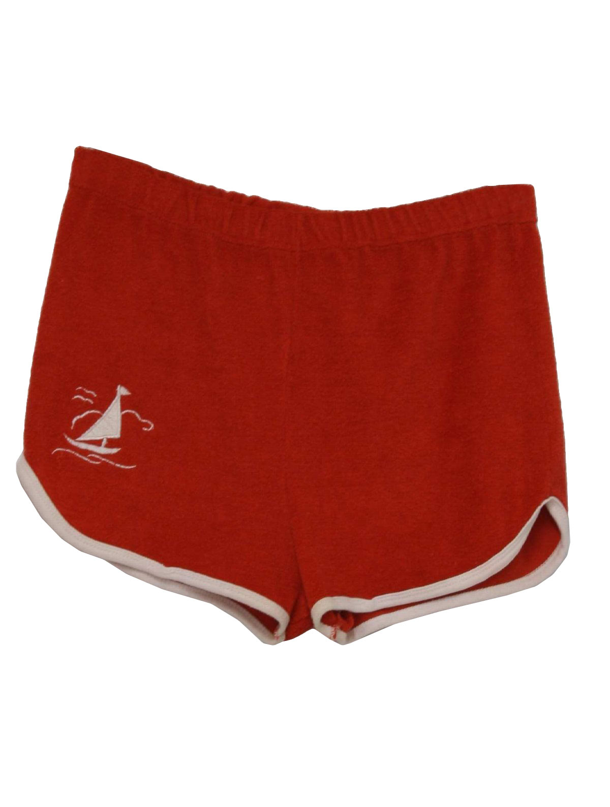 70s Shorts (Care Label): 70s -Care Label- Womens red polyester ...