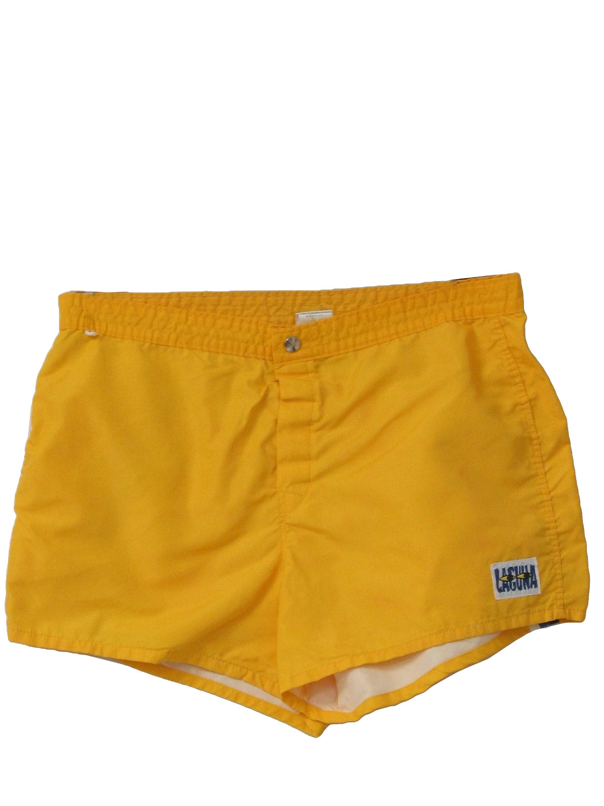 Mens Yellow Nylon Totally 80s Board Shorts With Velcrosnap Closure