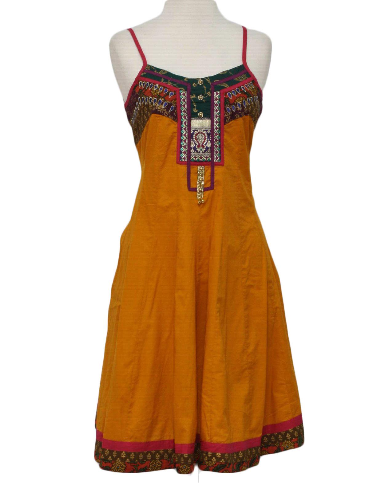 Hippie Dress 90s Globus Womens Dusty Orange Purple