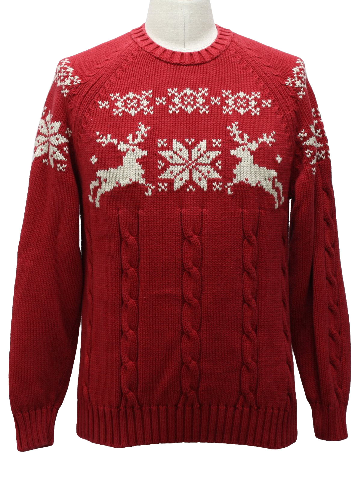 Mens Ugly Christmas Classic Reindeer Ski Style Sweater: -Lands End ...