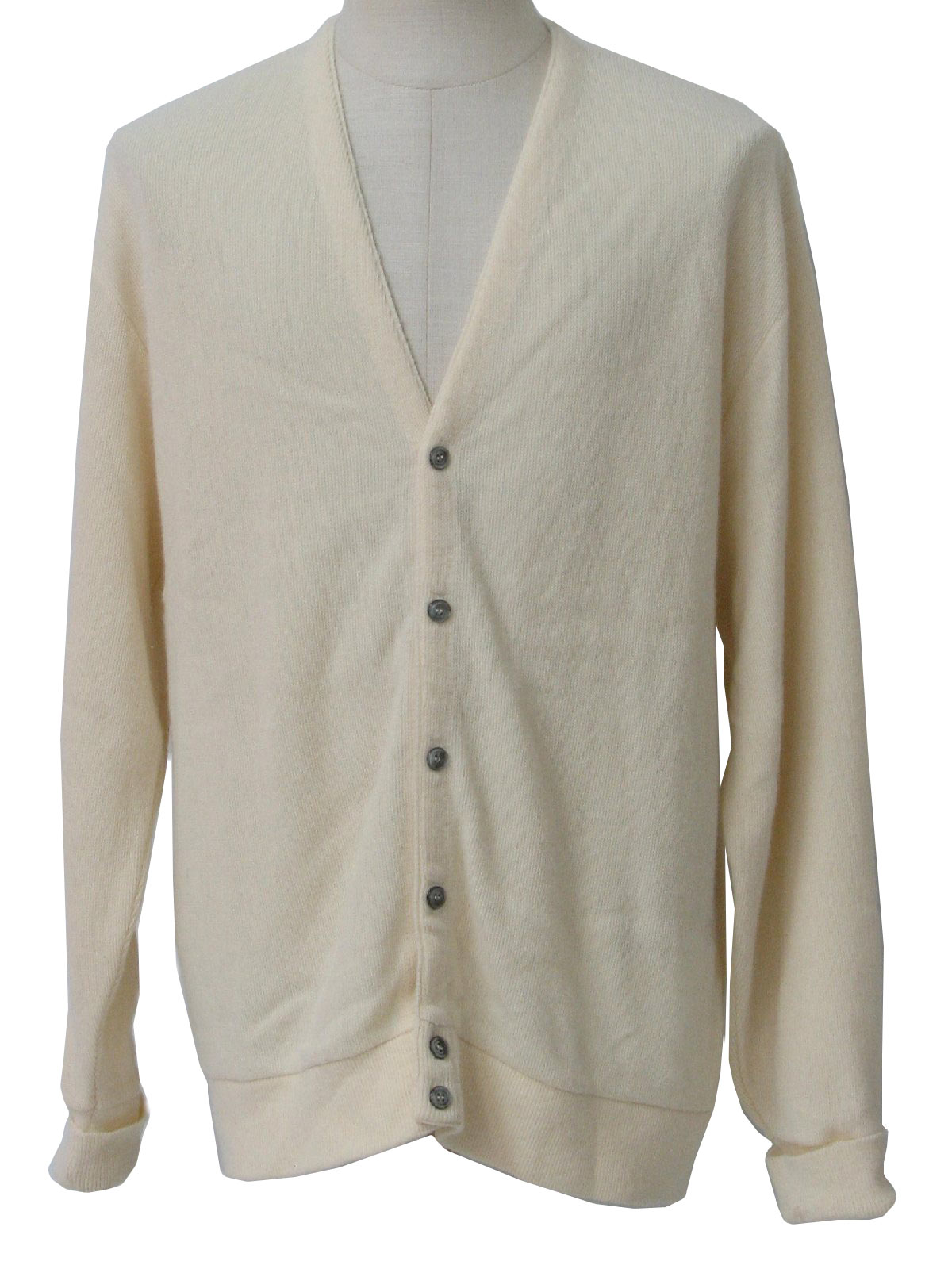 Retro 1980s Caridgan Sweater: 80s -Cypress Links- Mens cream ...