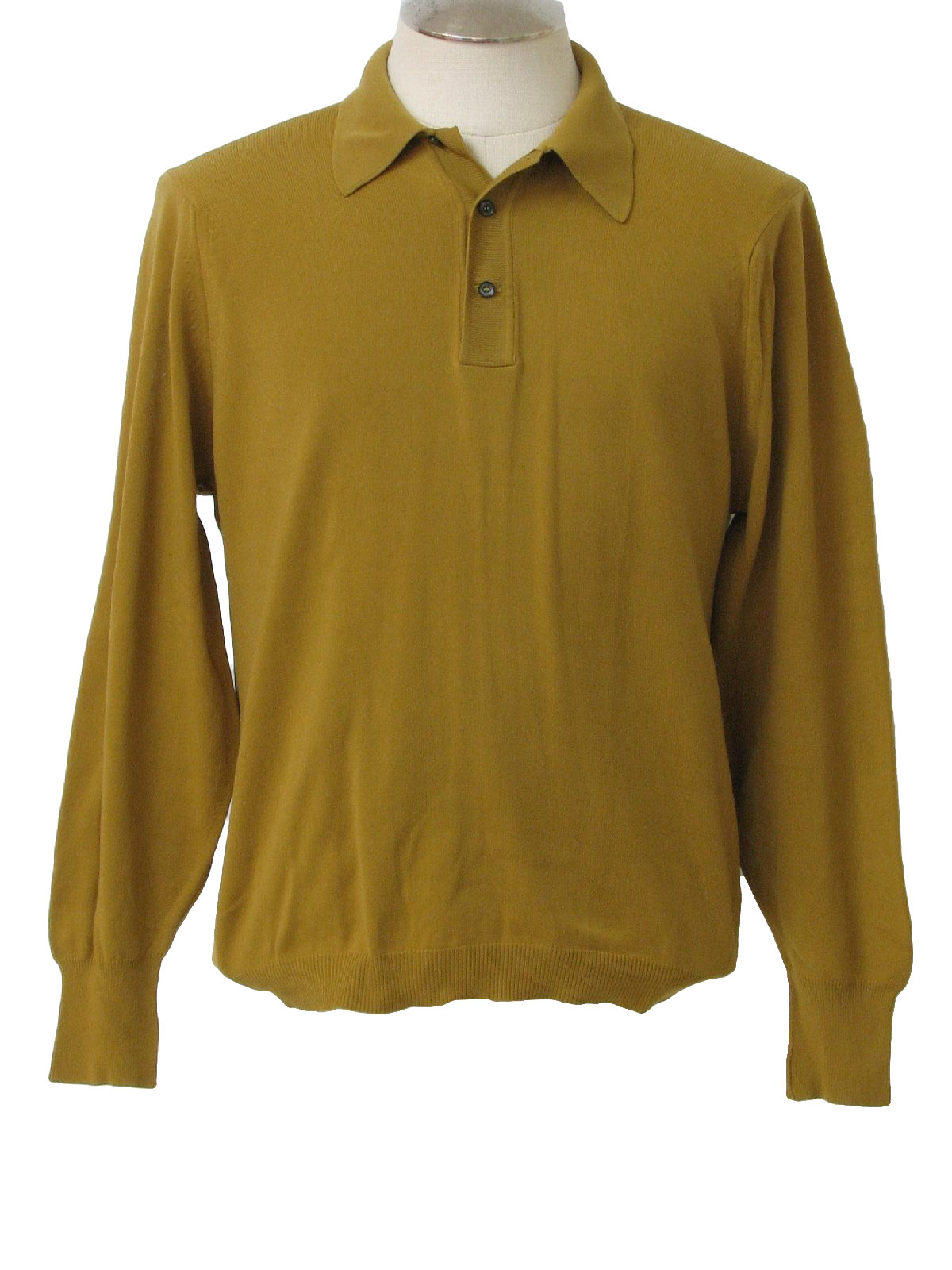 Retro Sixties Shirt Late 60s No Label Mens Tan Nylon