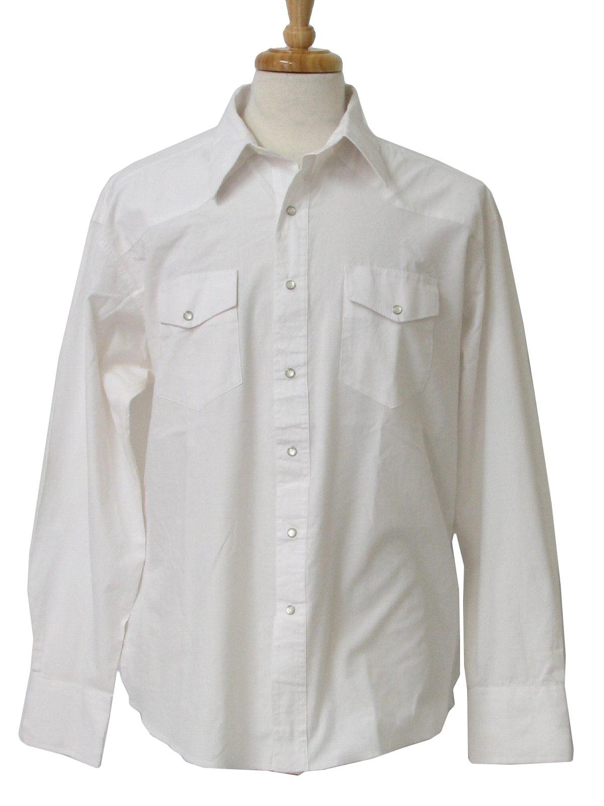 Vintage Wrangler 80's Western Shirt: 80s -Wrangler- Mens white ...