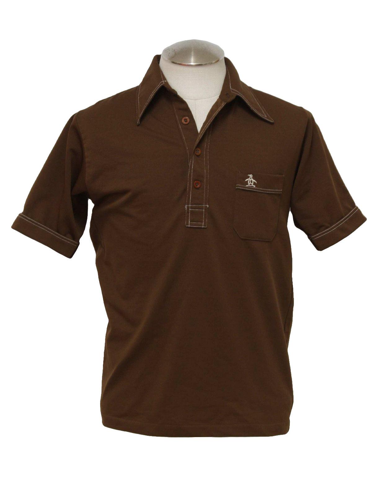 Retro 1970 39 s shirt grand slam 70s grand slam mens for Golf shirt with penguin logo