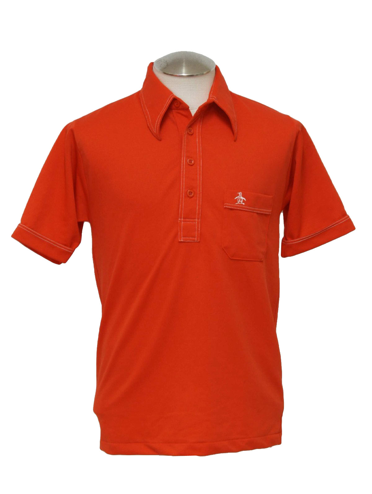 Vintage 1970 39 s shirt 70s grand slam mens bright red for Golf shirt with penguin logo