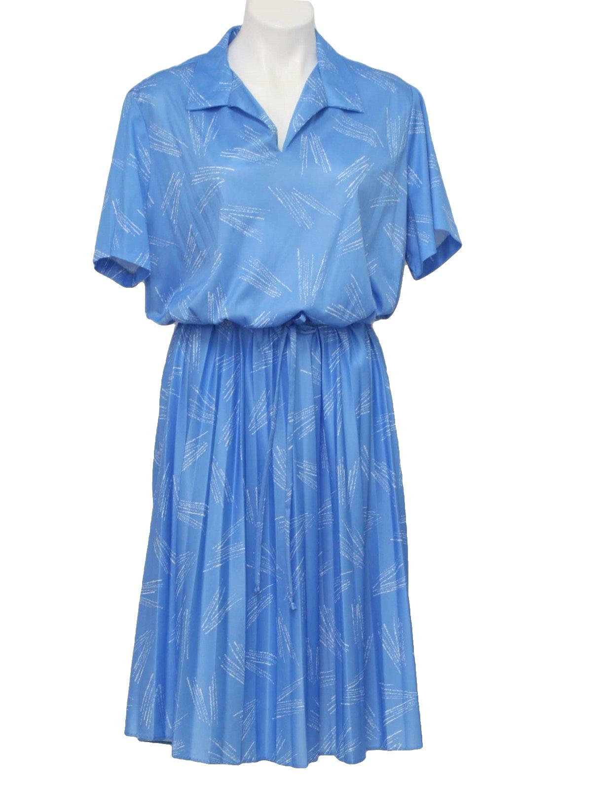 70s -Haband- Womens blue, silky polyester, short sleeve dress, having