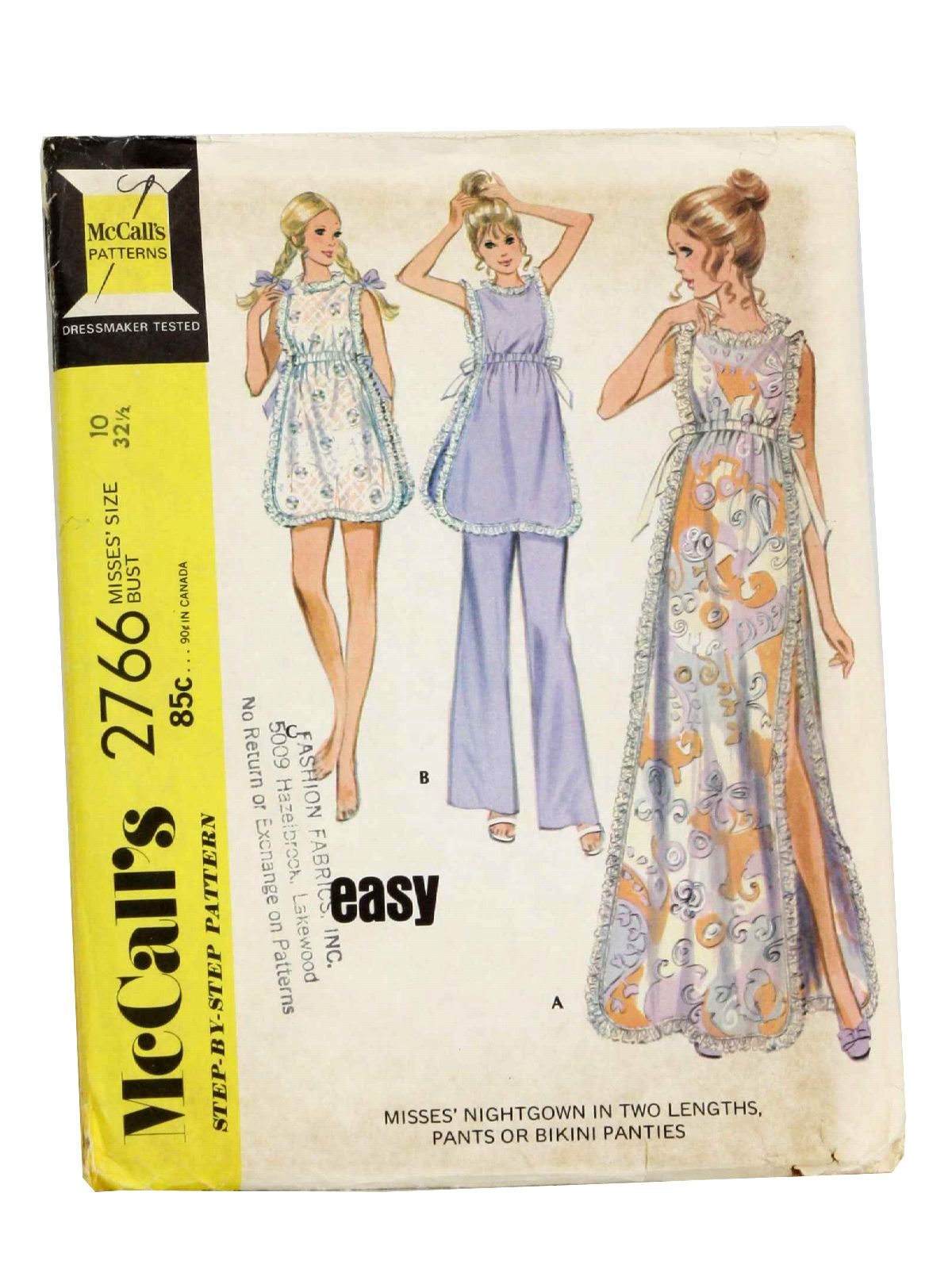 Retro 1970s Sewing Pattern: 70s -McCalls No. 2766- Womens nightgown ...