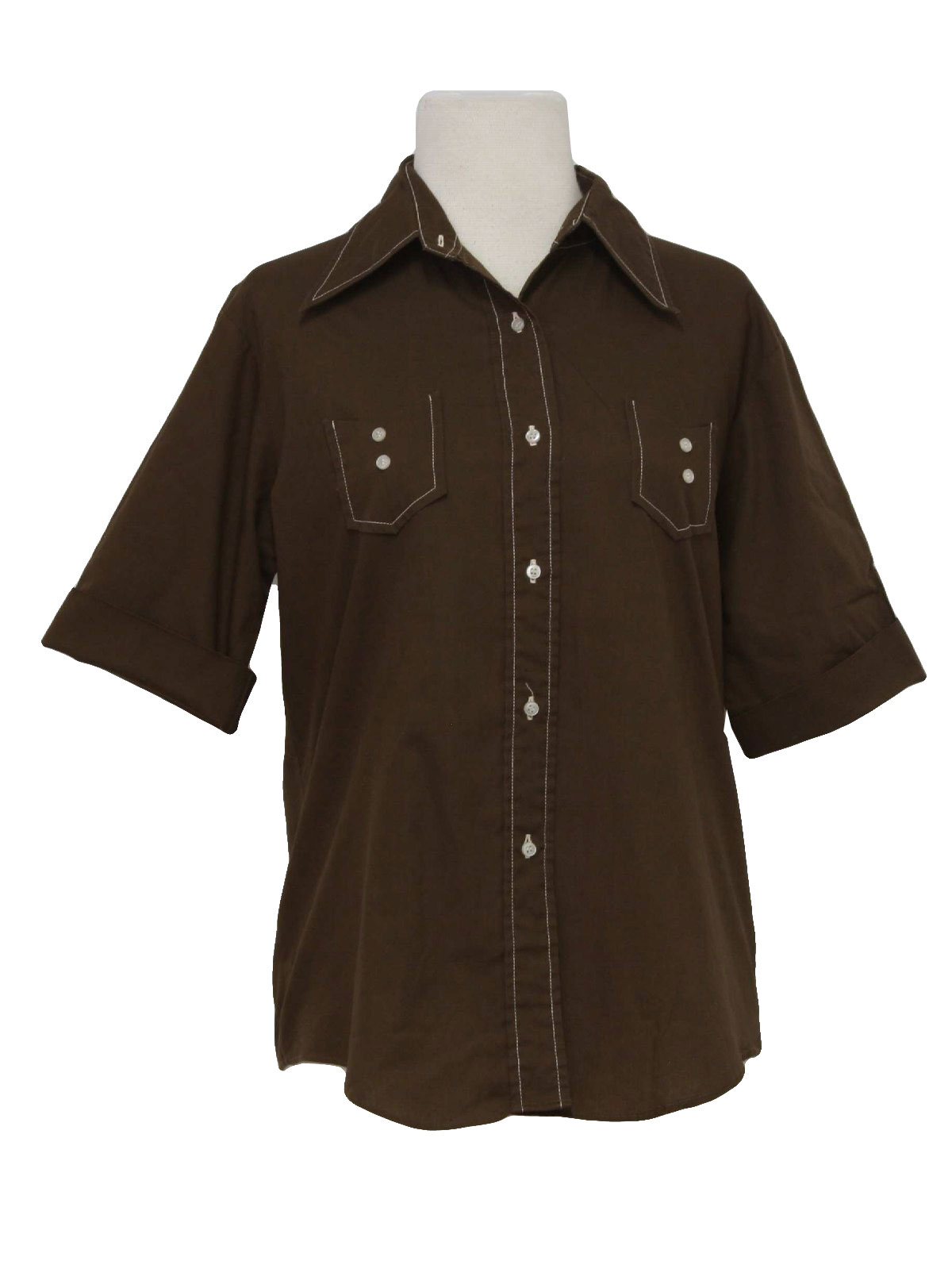 Retro 1960s shirt late 60s take 1 womens brown for White shirt brown buttons