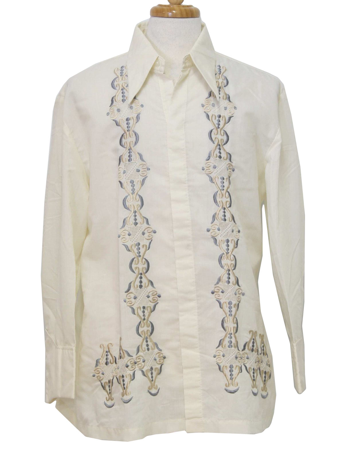 mens shaded cream on cream with royal maroon blue polyester thin knit longsleeve formal guayabera or mexican wedding shirt with button front closure