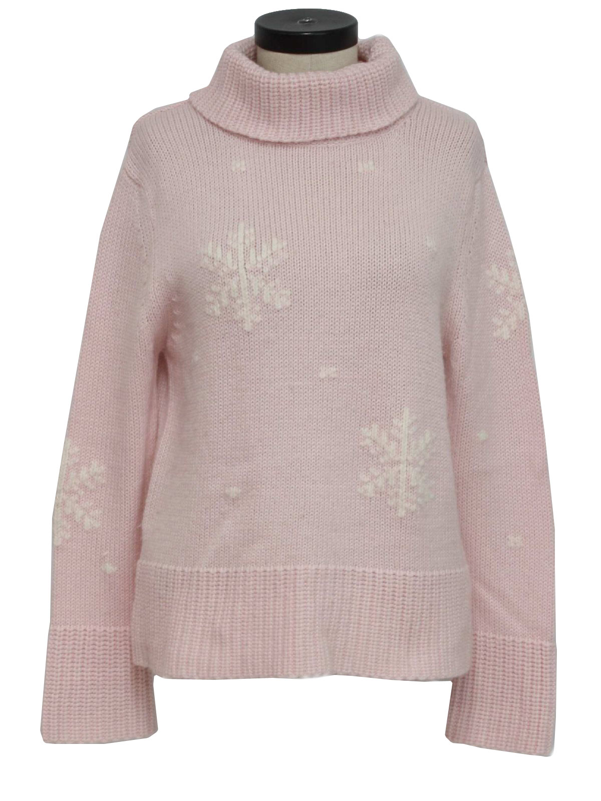 womens minimalist ugly christmas sweater apart impressions womens pink and white acrylic and wool longsleeve pullover folding turtleneck ugly christmas - Pink Ugly Christmas Sweater