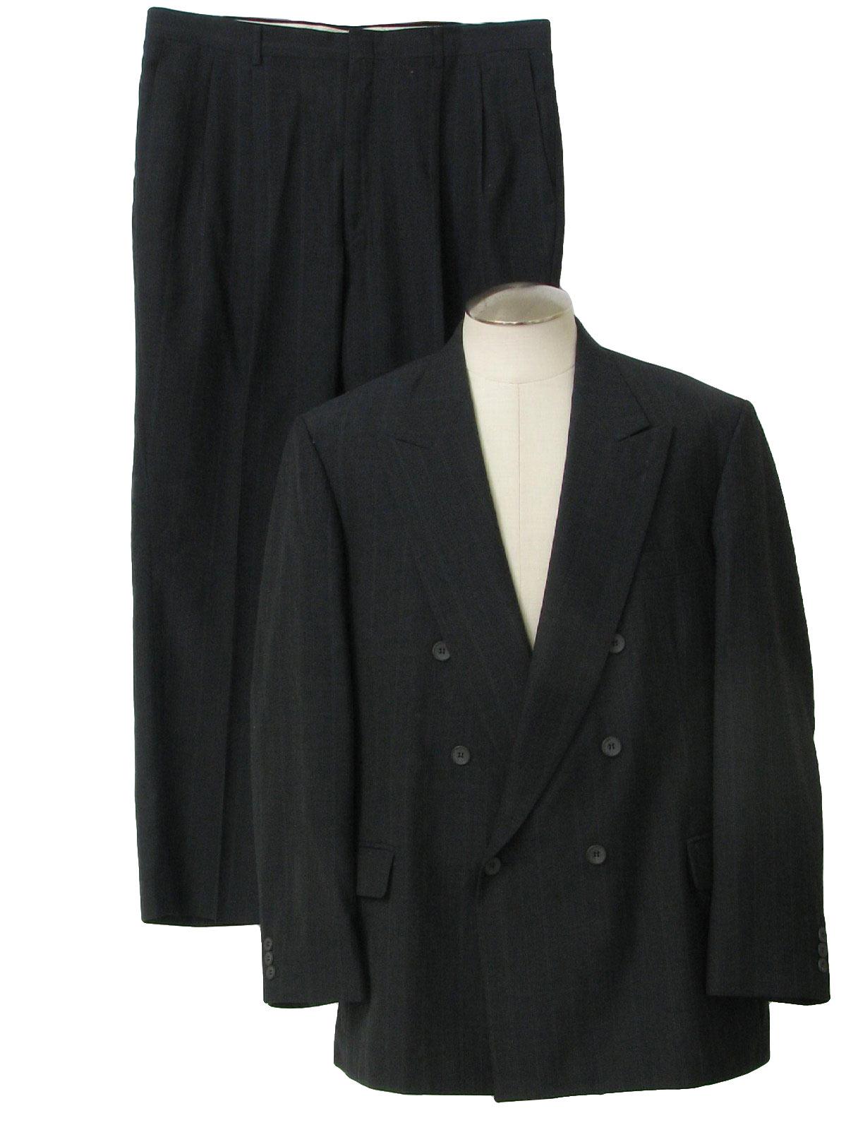 Retro 1980s Suit 80s Hagar Imperial Mens Charcoal Blue