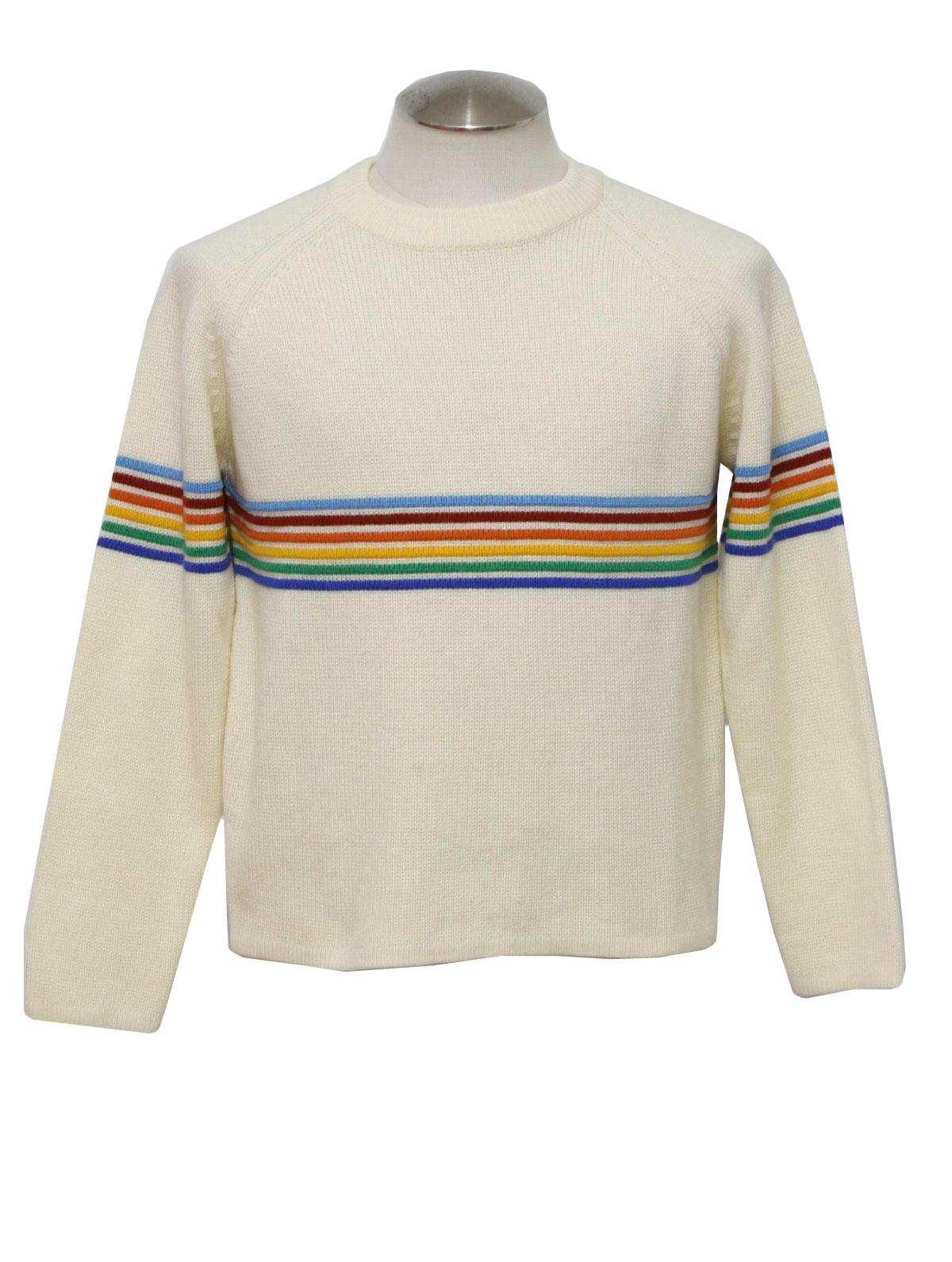 Retro 1970s Sweater: 70s -Stilton- Mens off white, blue, red ...