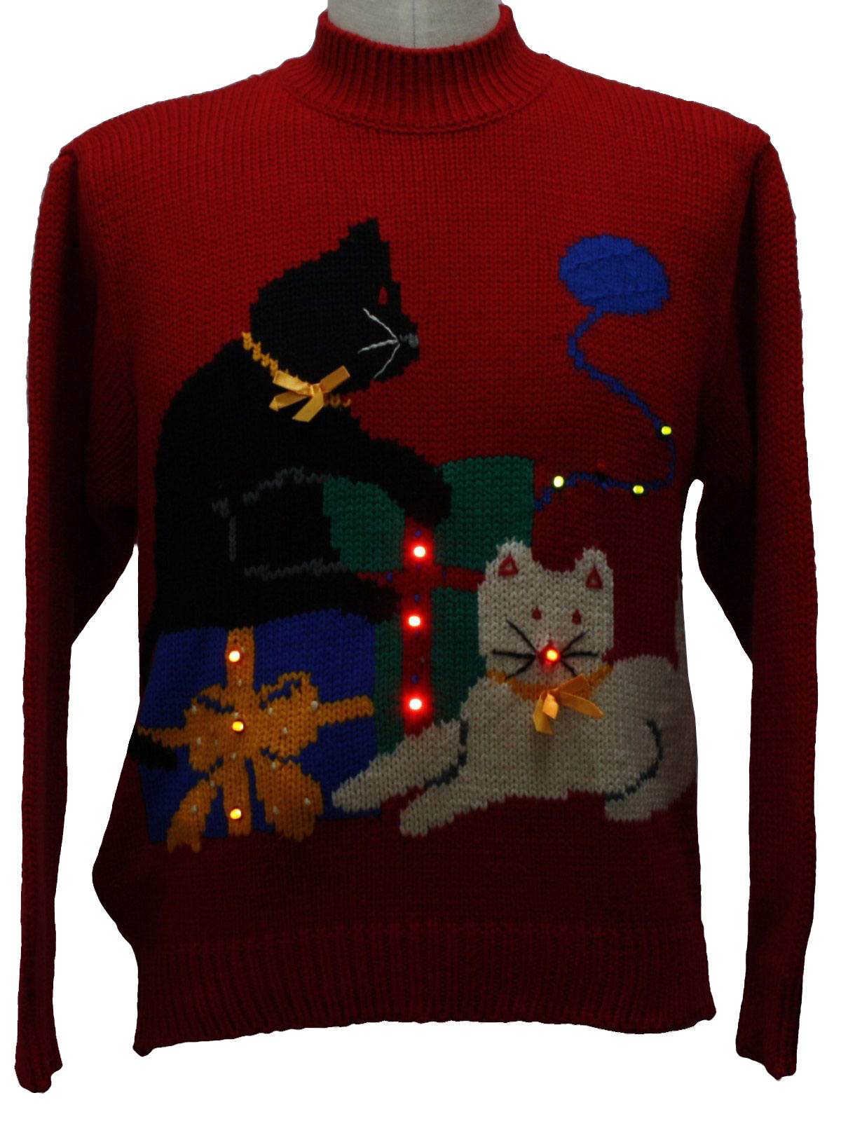 1980s Vintage Cat Tastic Lightup Ugly Christmas Sweater