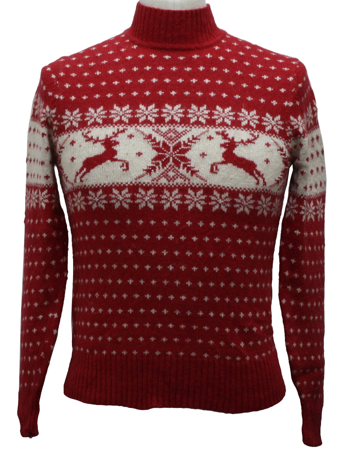 Womens or Childs Classic Reindeer Ugly Christmas Sweater   -White ... 77e1ca223