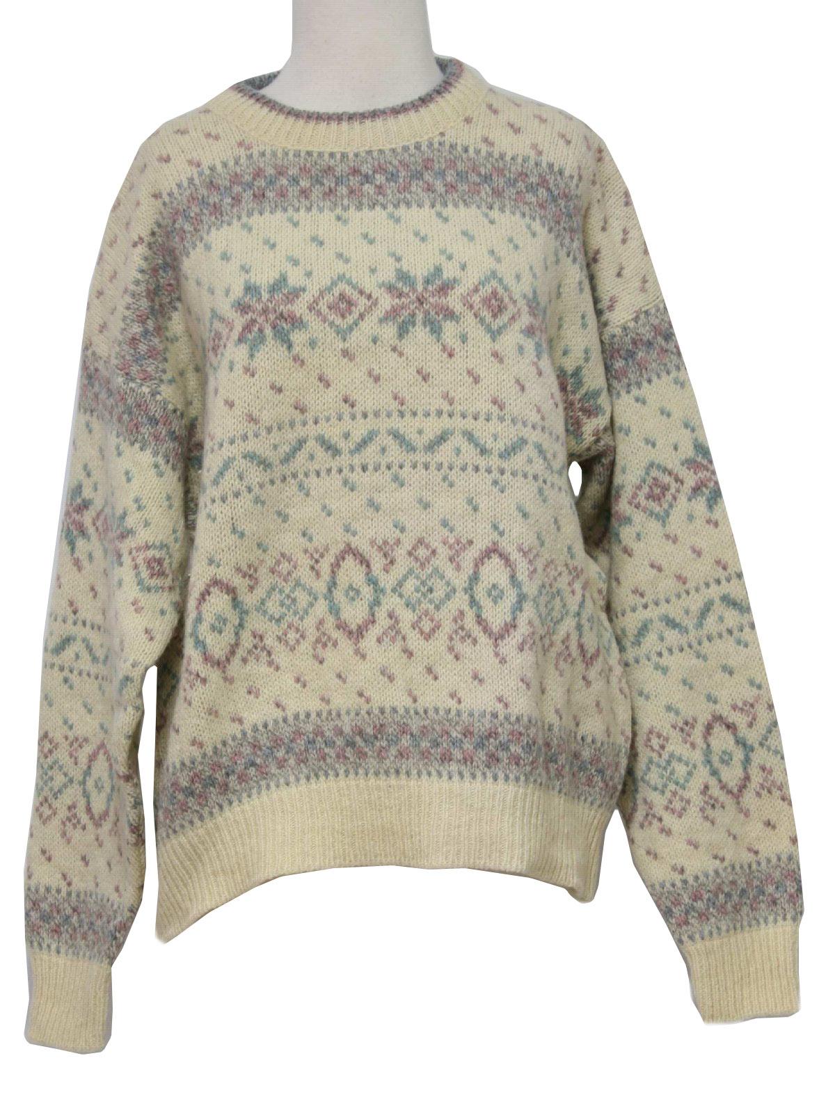 Retro 1990s Sweater 90s Eddie Bauer Womens Natural