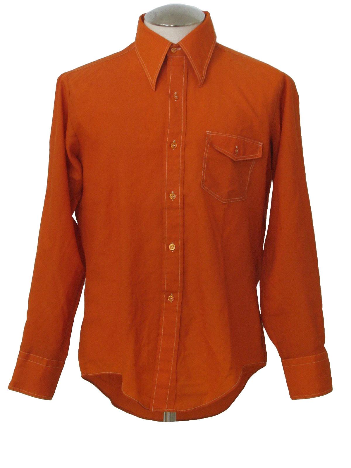 70s shirt no iron 70s no iron mens orange rust for No iron shirts mens