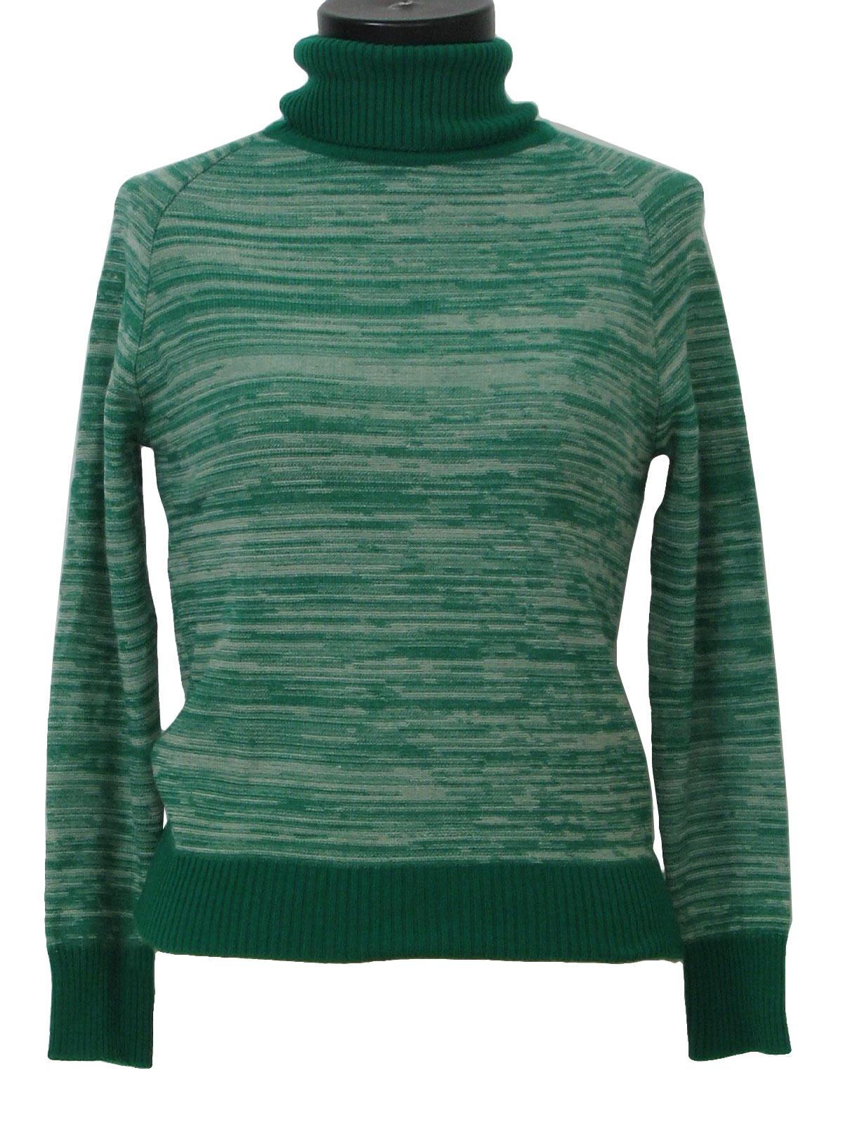 Retro 1960s Knit Shirt: 60s -no label- Womens or girls true green ...