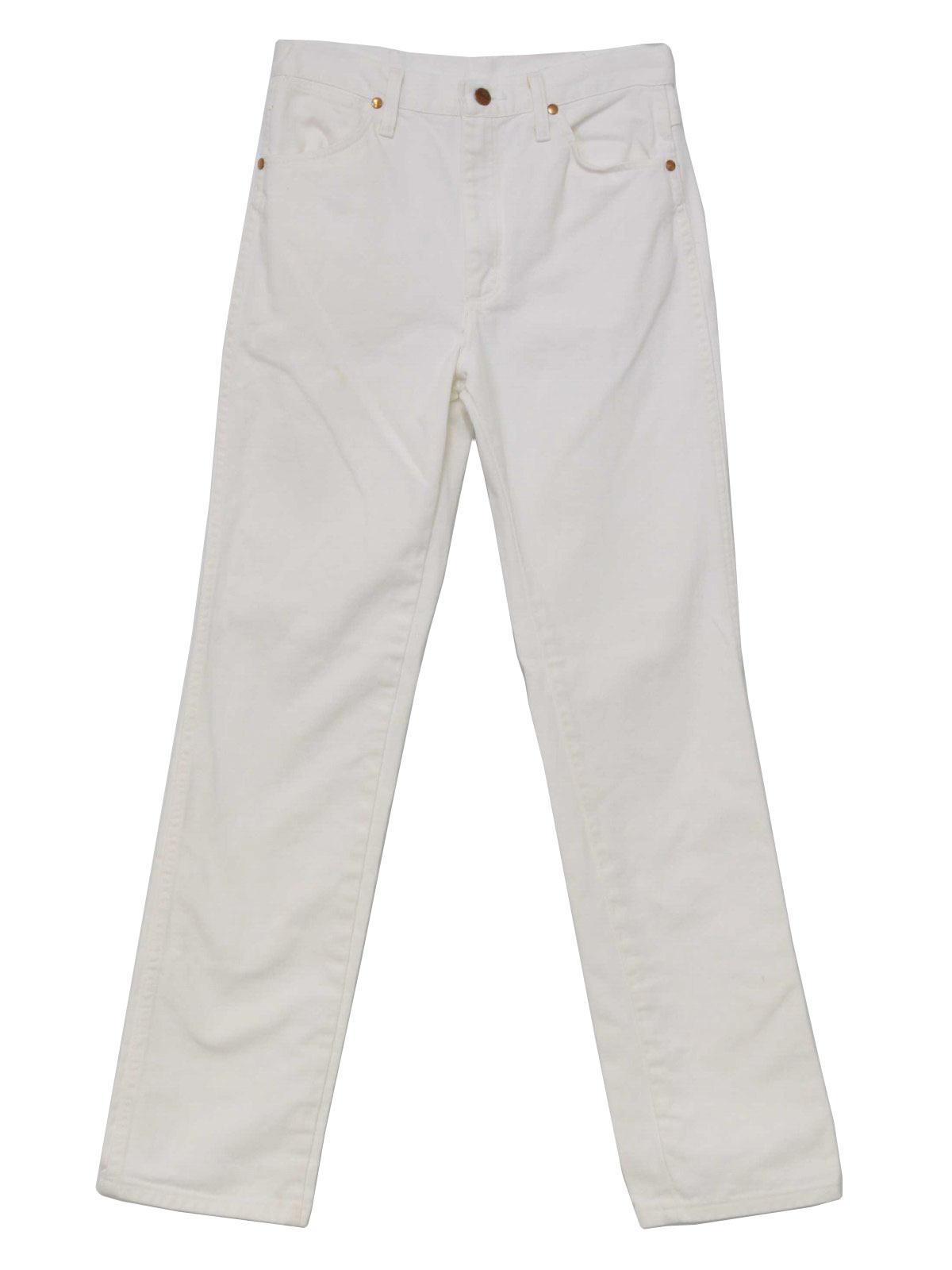 Retro 1980s Pants: 80s -Wrangler- Mens white cotton denim jeans ...