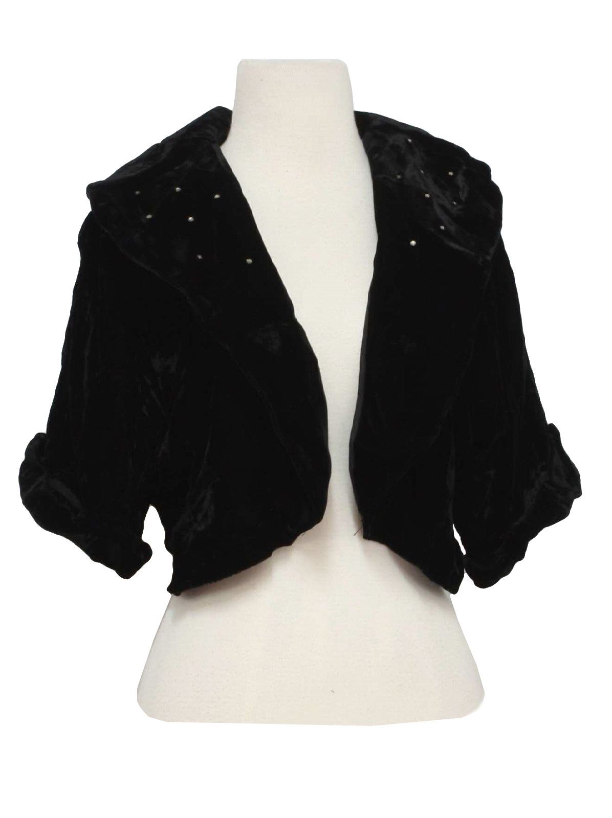 Fifties Vintage Jacket: 50s -GlenTex- Womens black cotton velvet ...