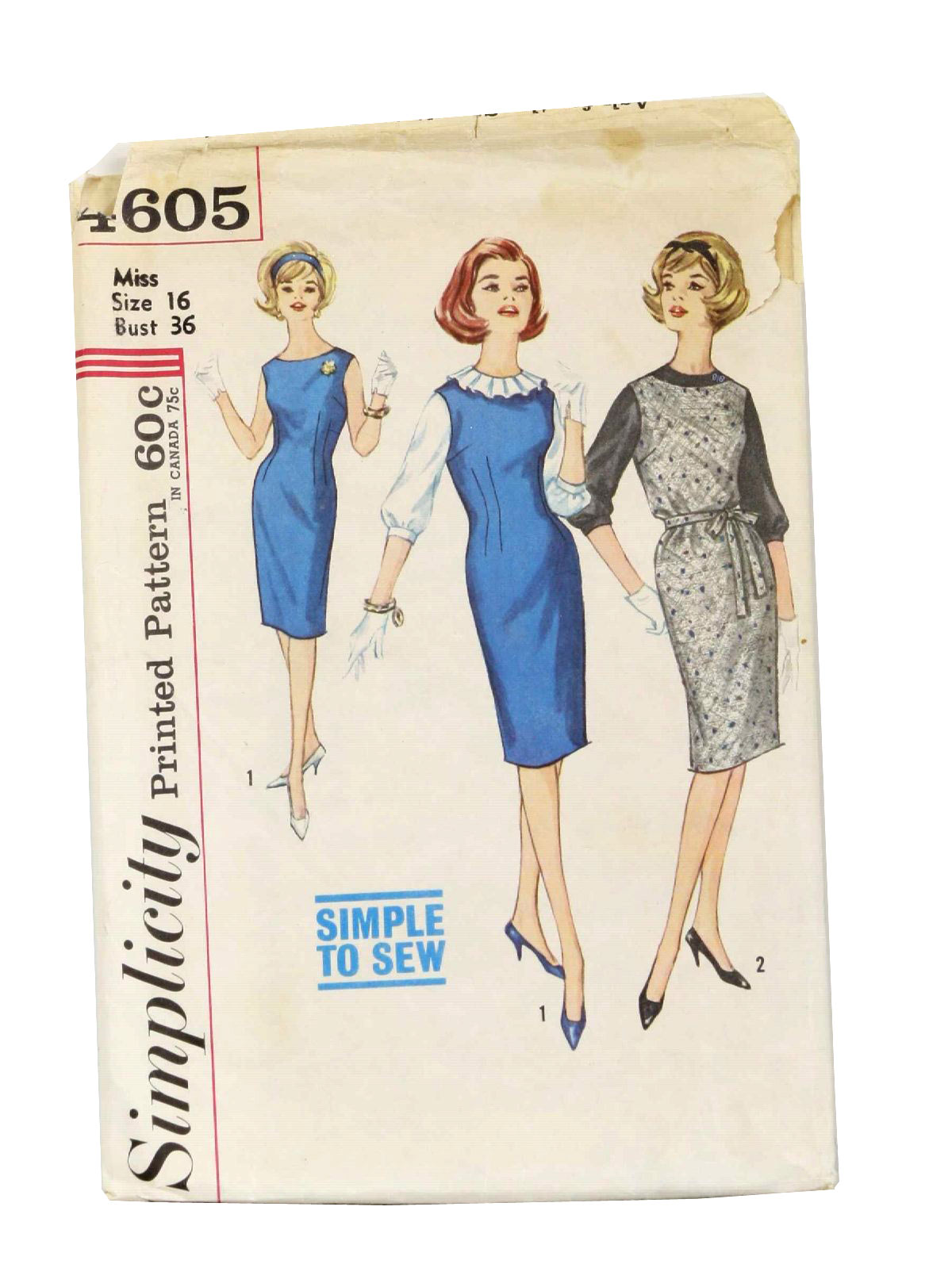 Vintage 1960\'s Sewing Pattern: 60s -Simplicity Pattern No. 4605 ...