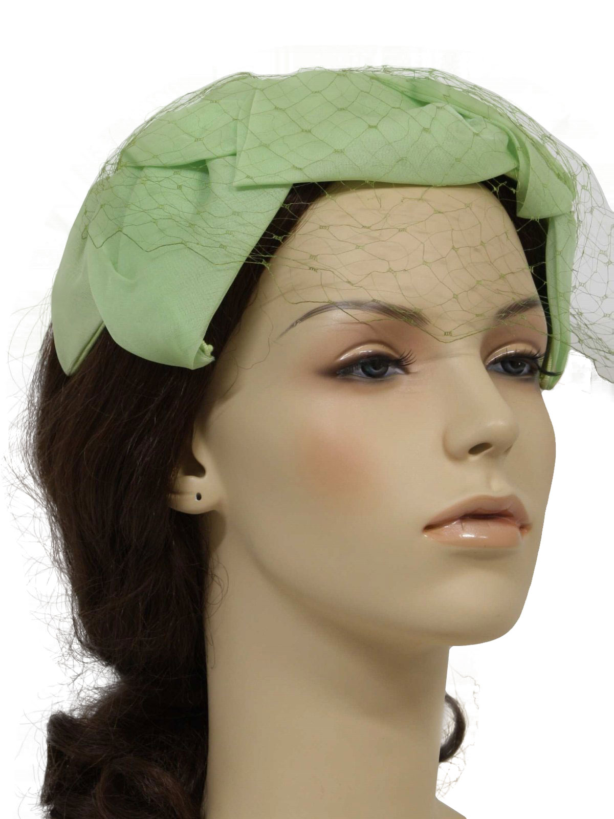 9bf594ac9f0 1960 s Retro Hat  60s -Label Missing- Womens soft lime green chiffon ...