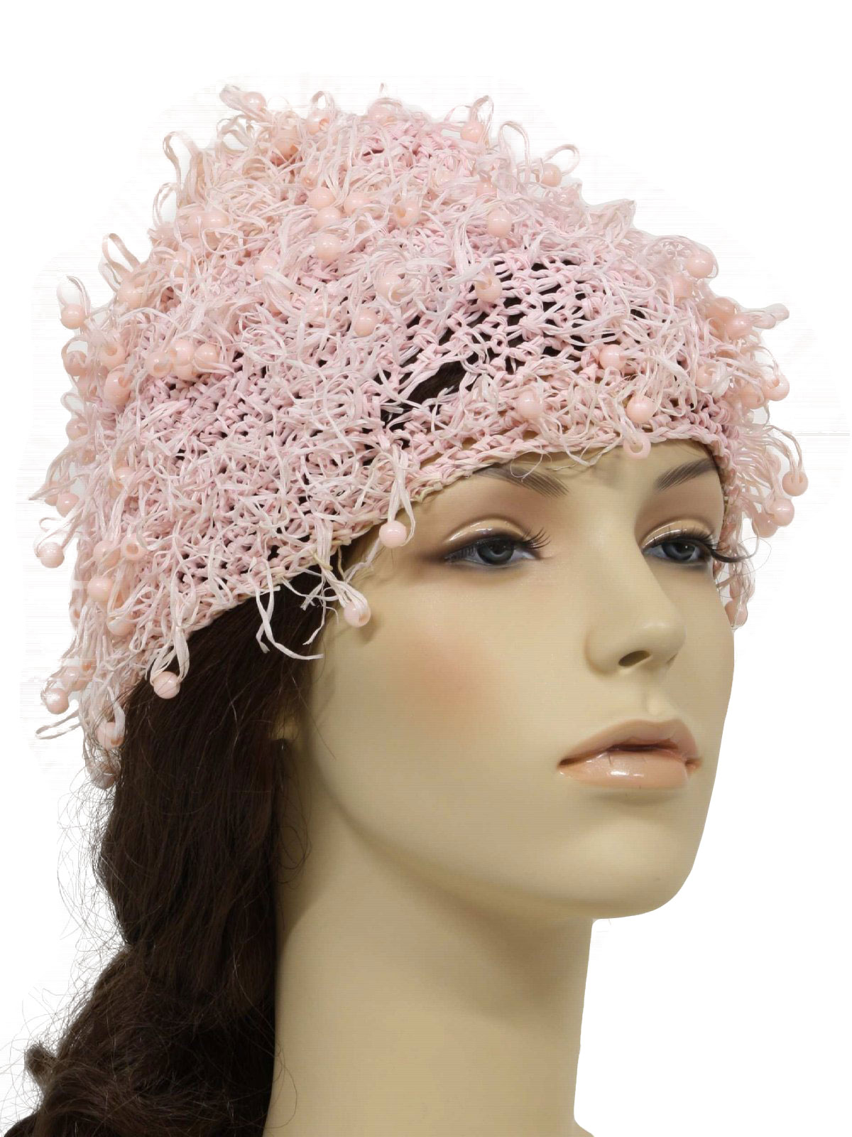 1970 S Hat 70s No Label Womens Pink Crochet Close
